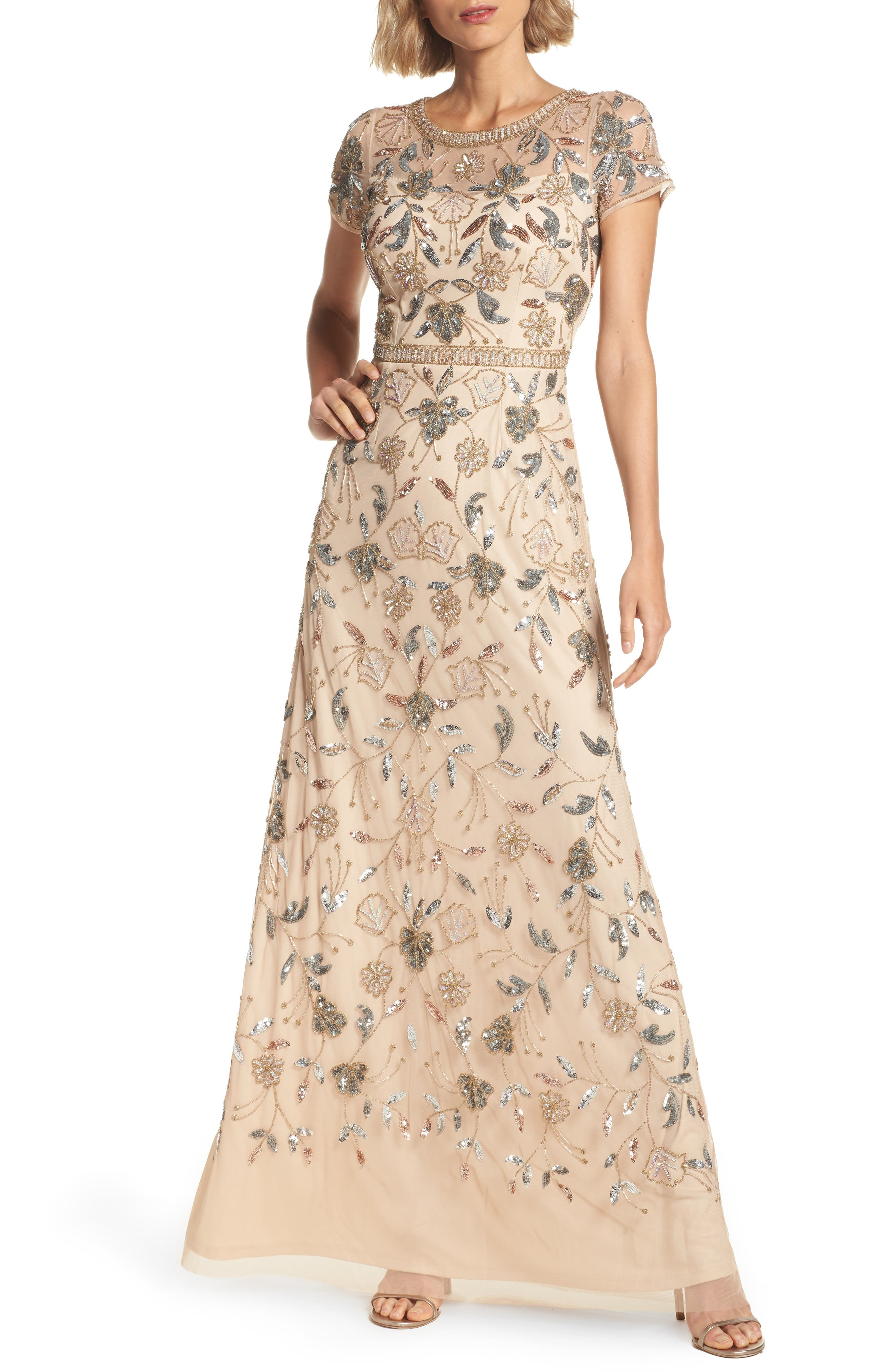 Embellished Illusion Yoke Gown,                         Main,                         color, Champ