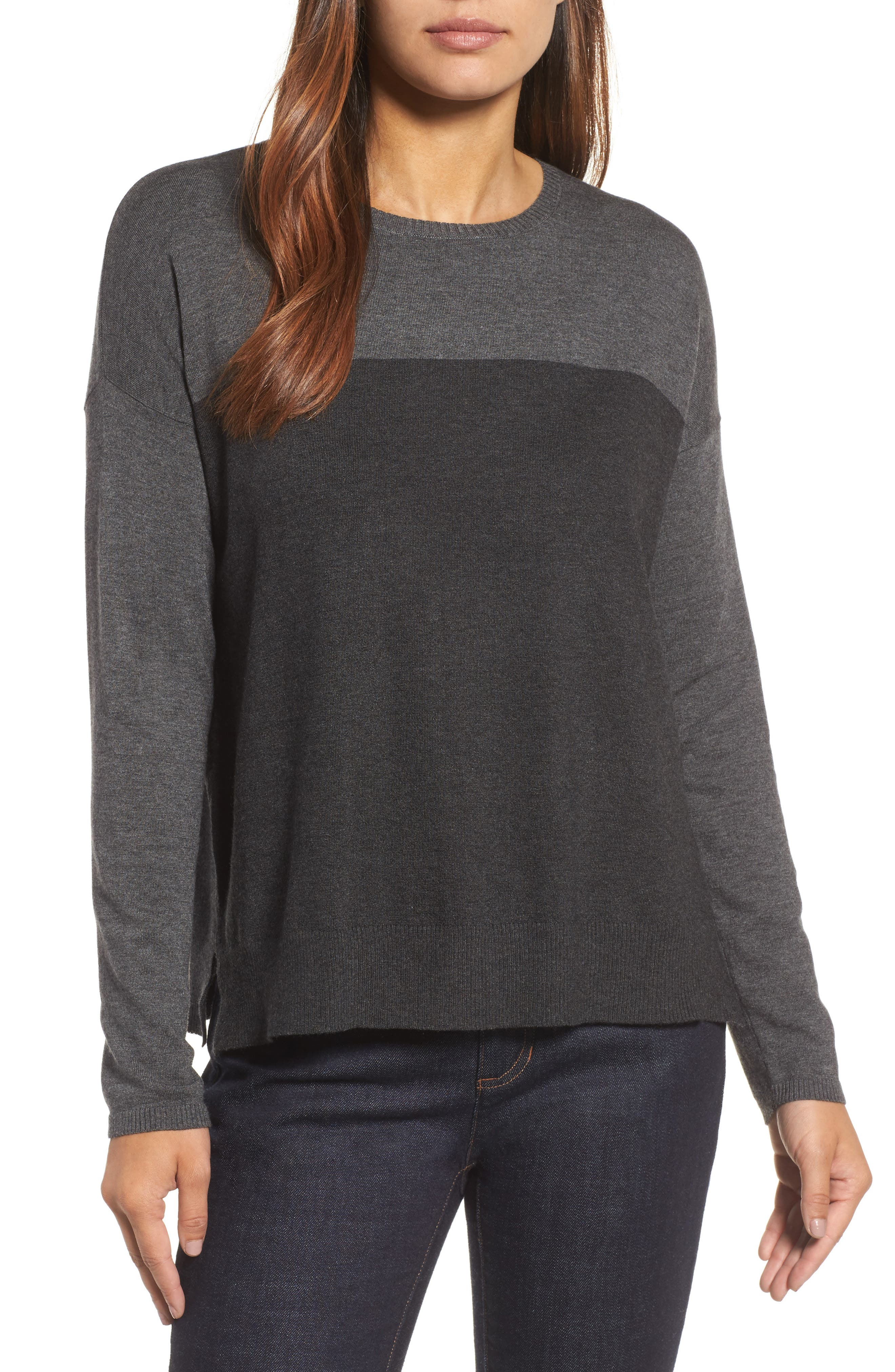 Alternate Image 1 Selected - Eileen Fisher Round Neck Box Sweater