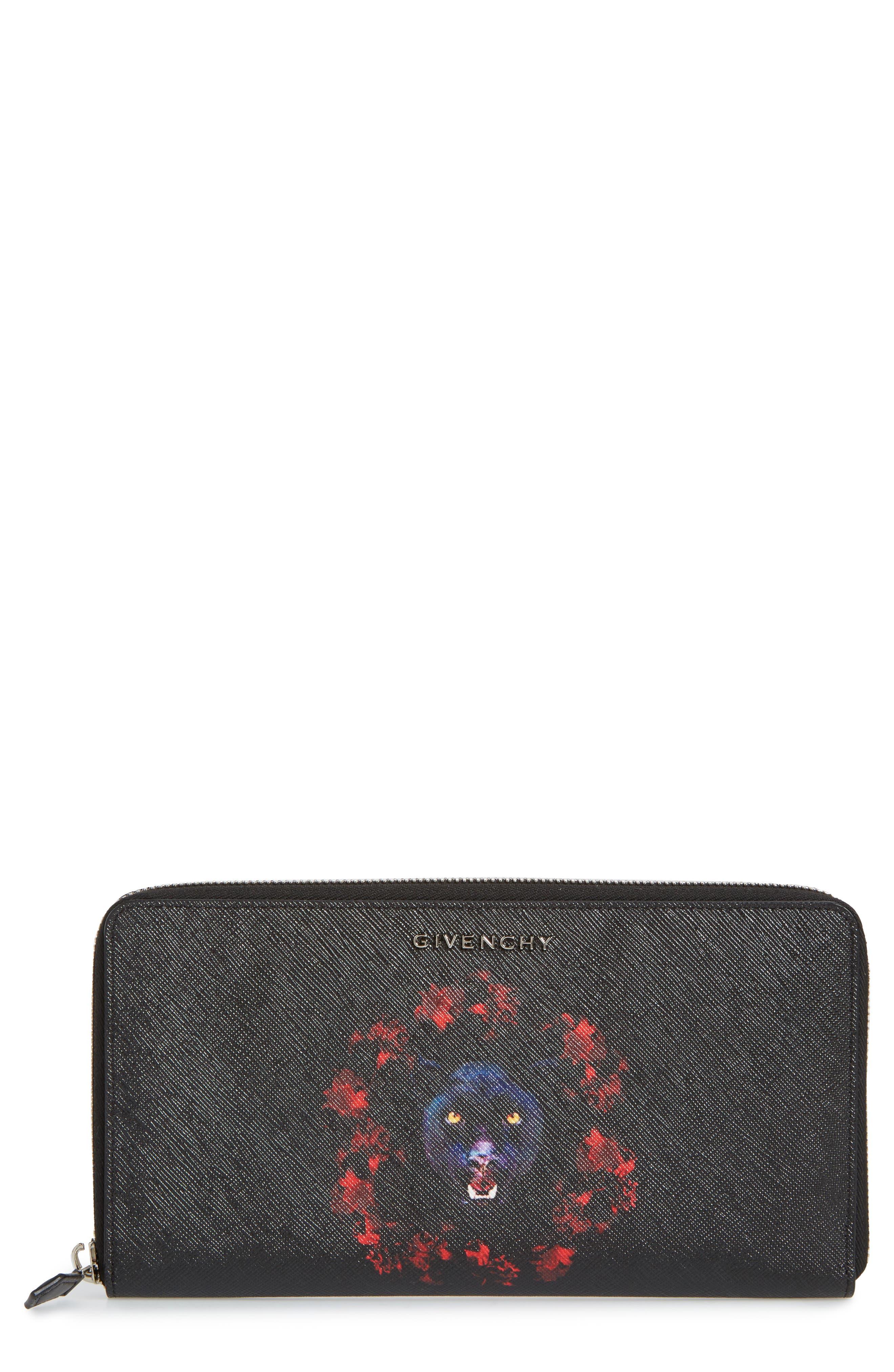 Jaguar Zip-Around Wallet,                         Main,                         color, Black/ Red