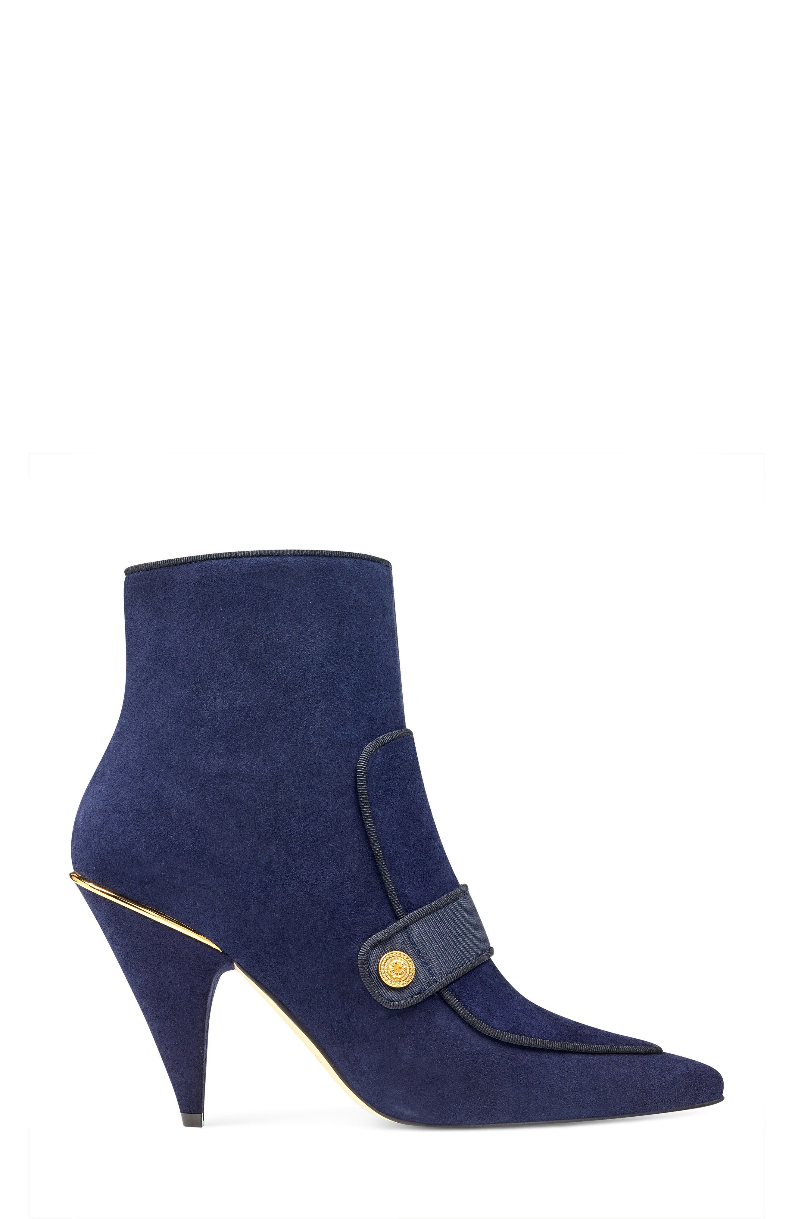Westham Pointy Toe Bootie,                             Alternate thumbnail 3, color,                             Navy/ Black Suede