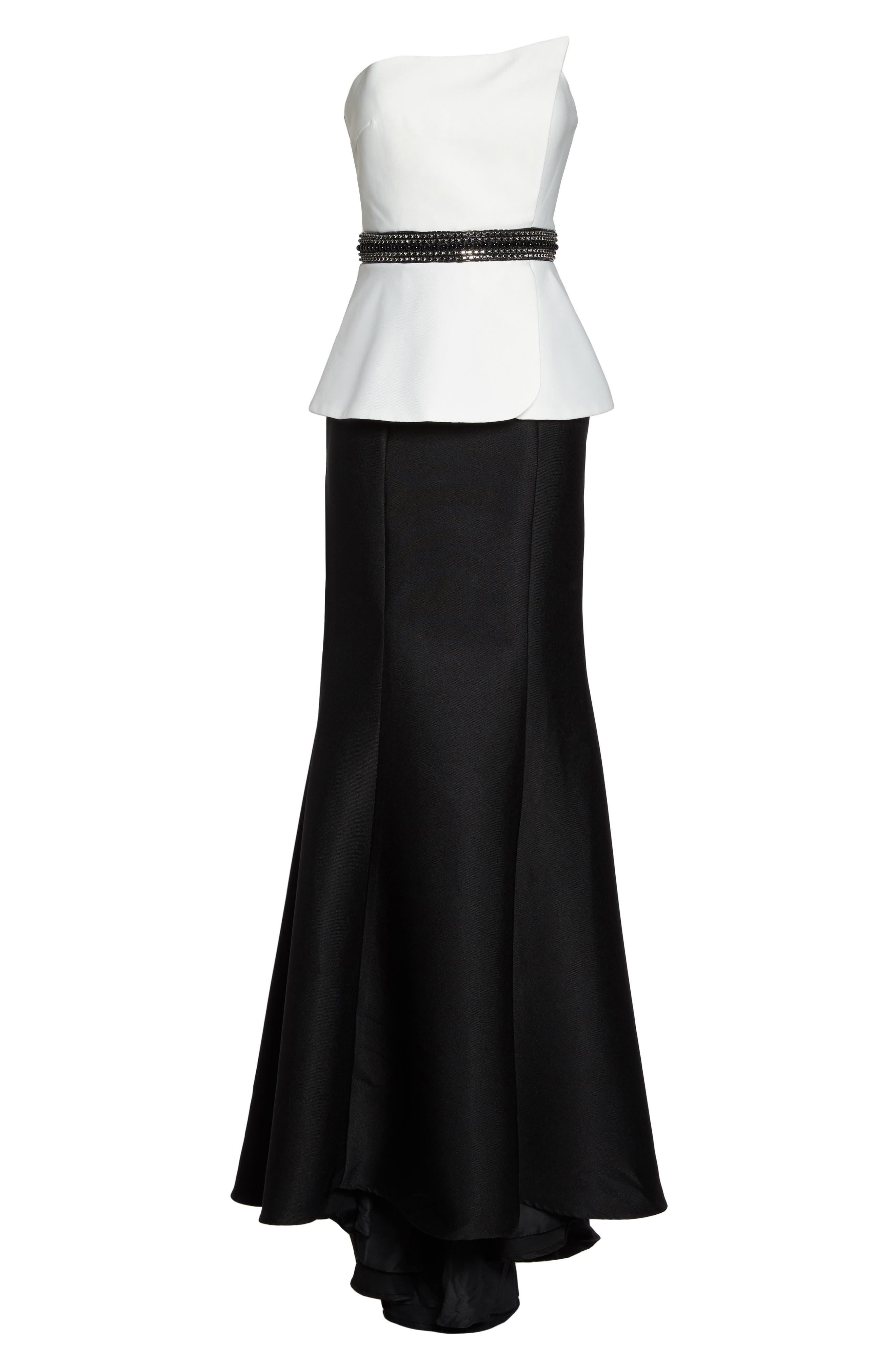 Color Block Strapless Mermaid Gown,                             Alternate thumbnail 6, color,                             Black/ White