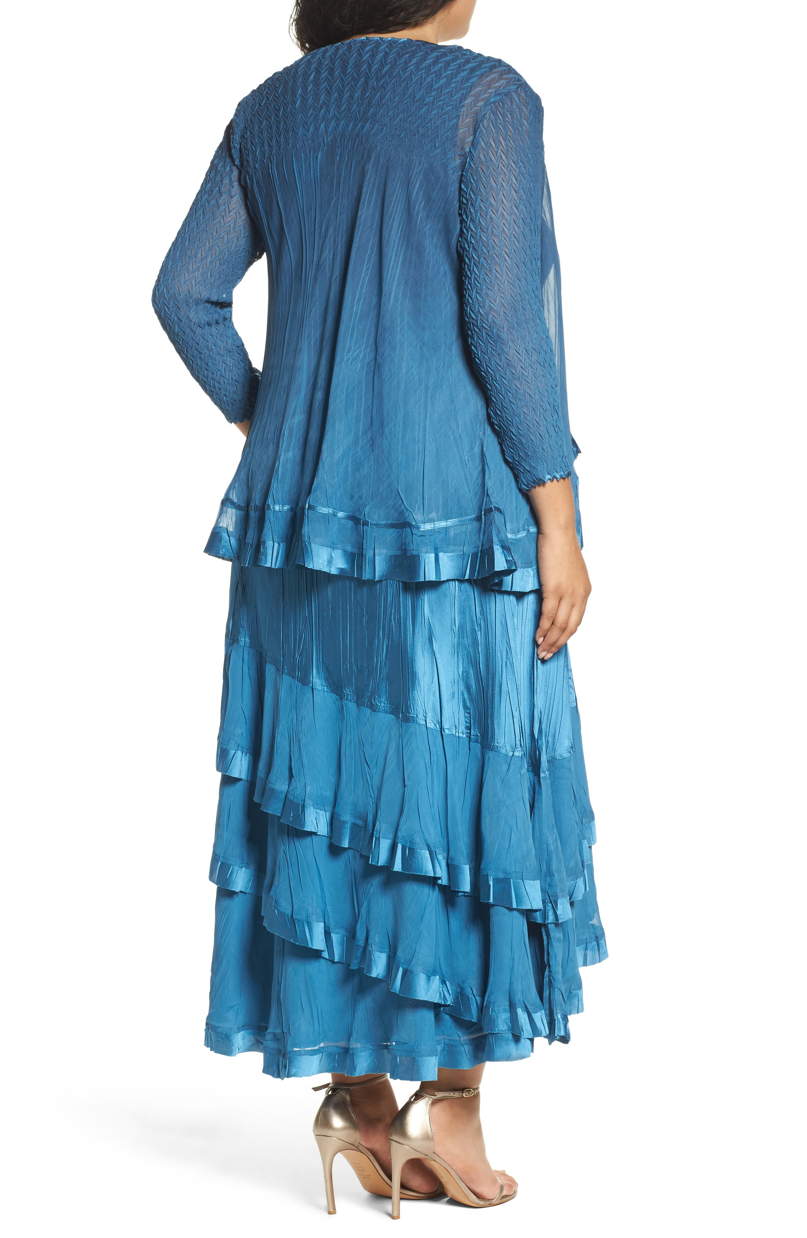Tiered Dress with Jacket,                             Alternate thumbnail 3, color,                             Blue Dusk