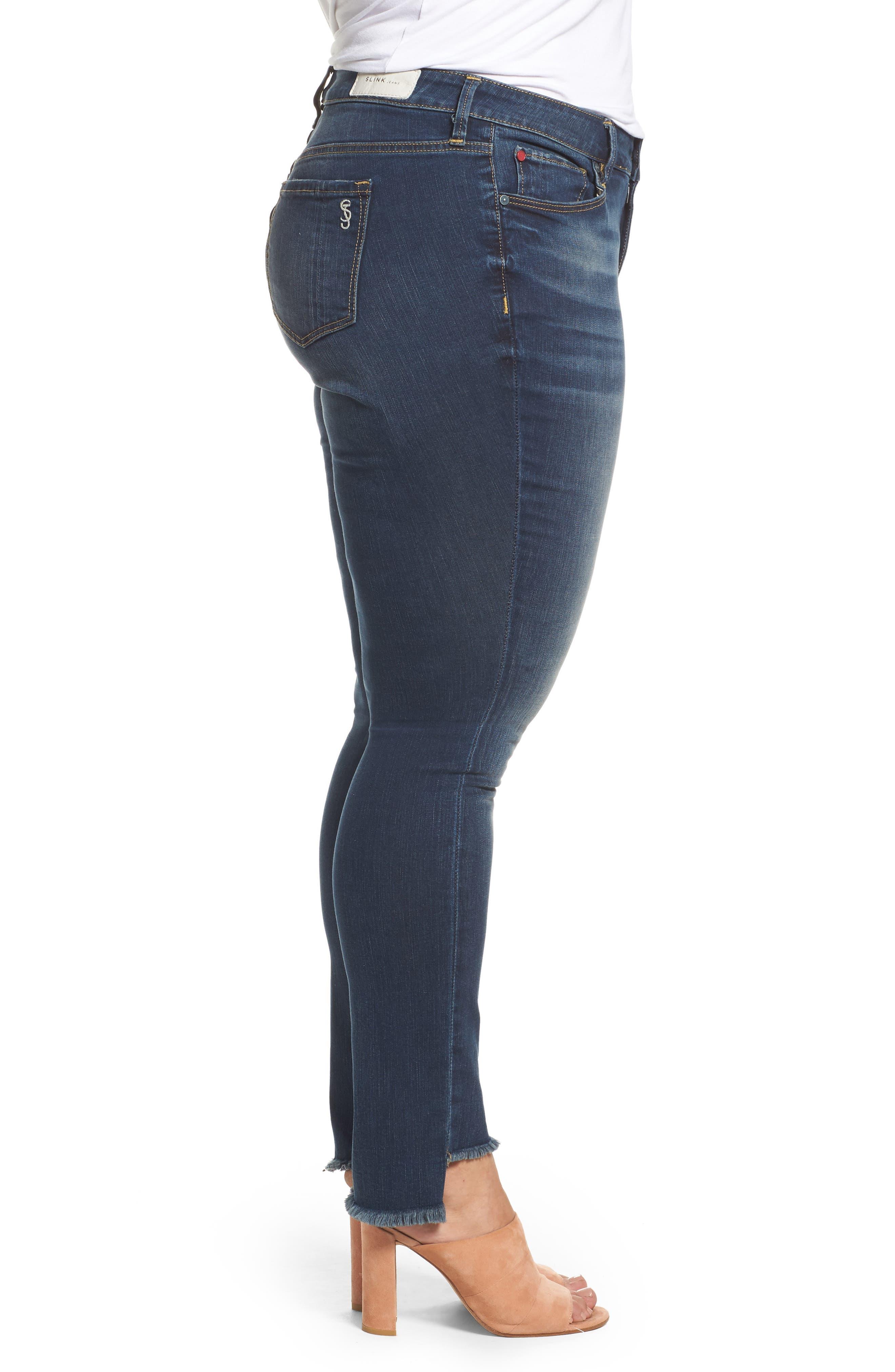 Alternate Image 3  - SLINK Jeans Step Hem Skinny Jeans (Danielle) (Plus Size)