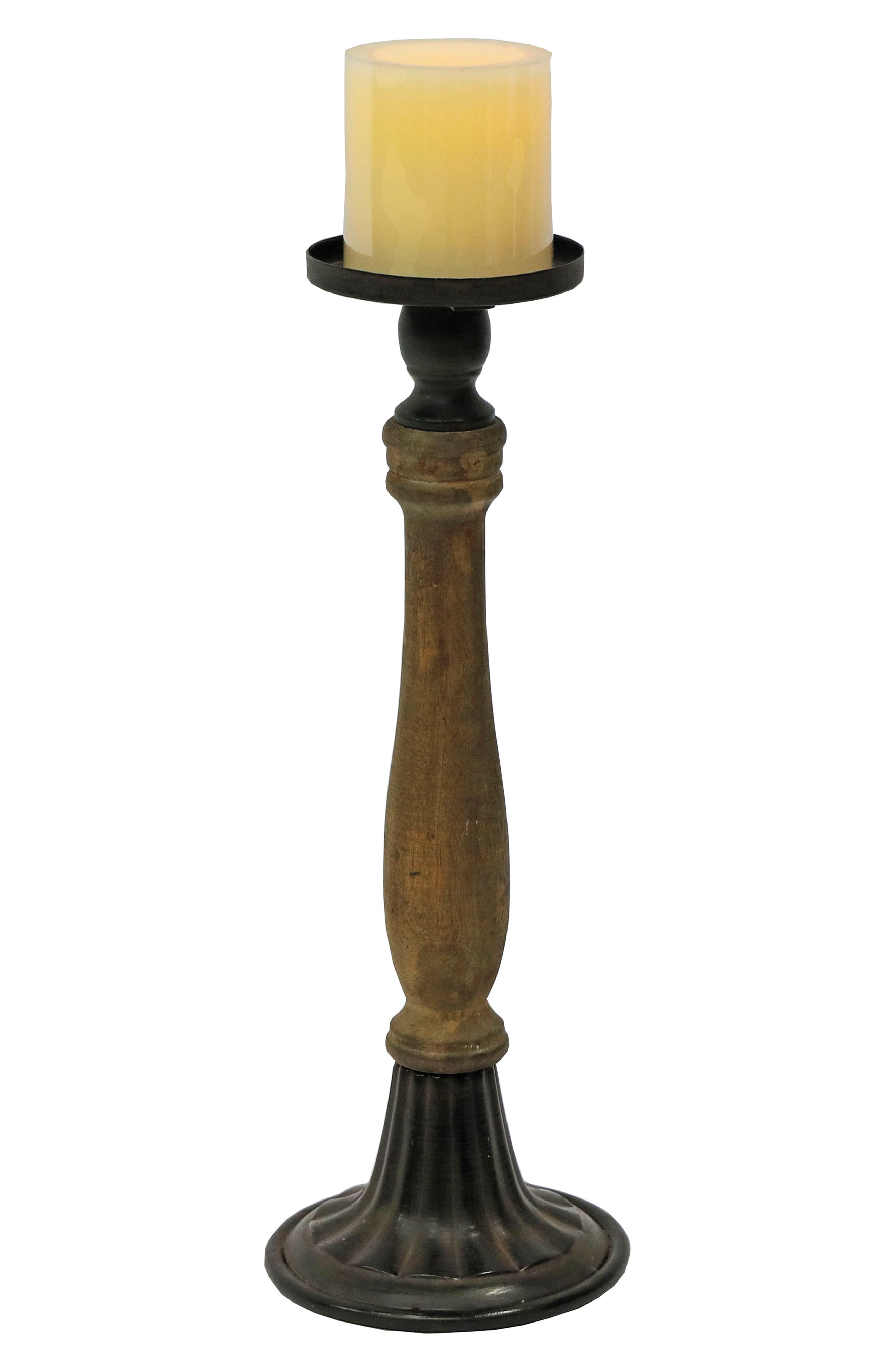 Large Spindle Pillar Candle Holder,                         Main,                         color, Wood/ Metal