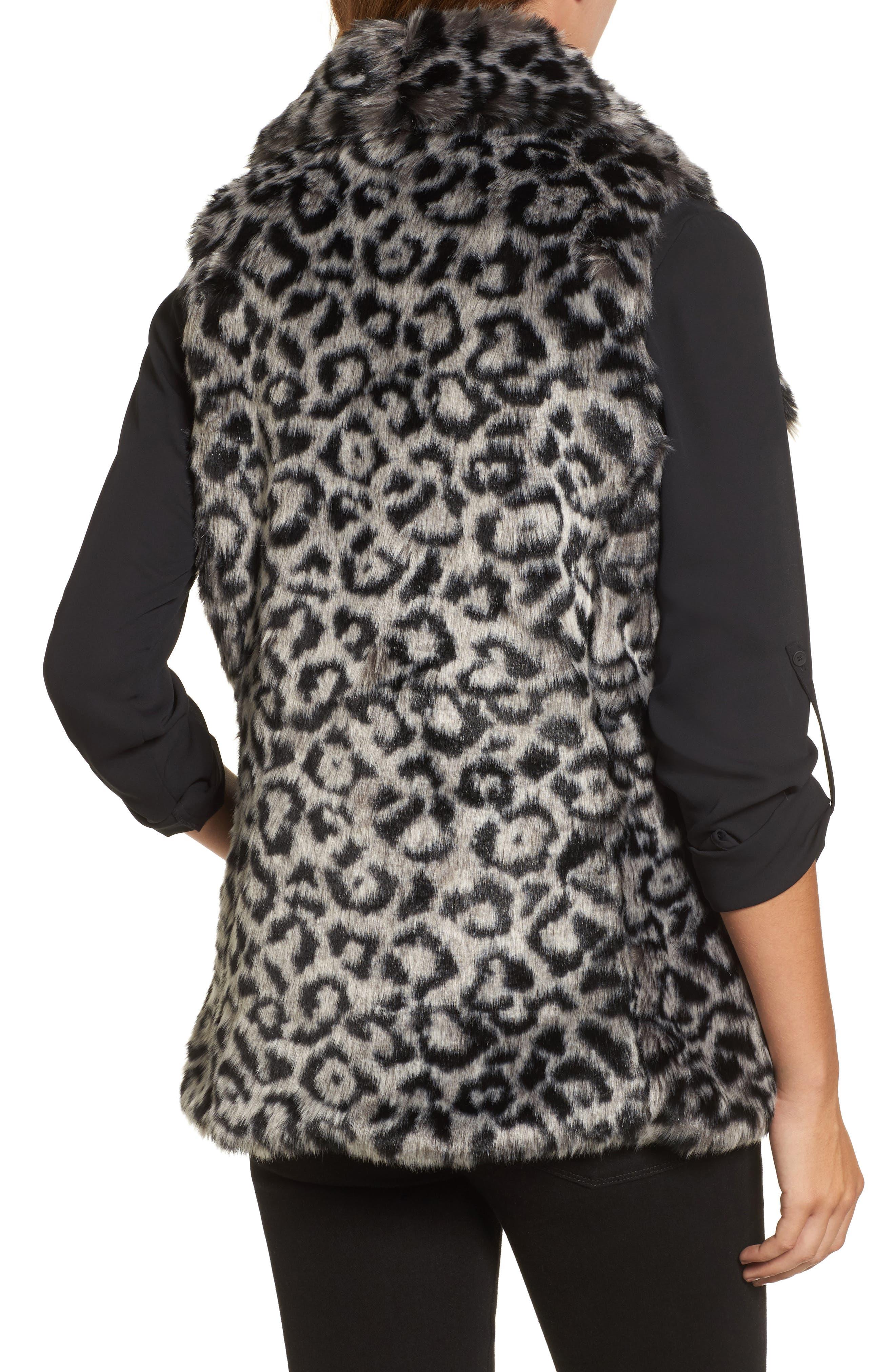 Faux Fur Vest,                             Alternate thumbnail 2, color,                             Snow Leopard