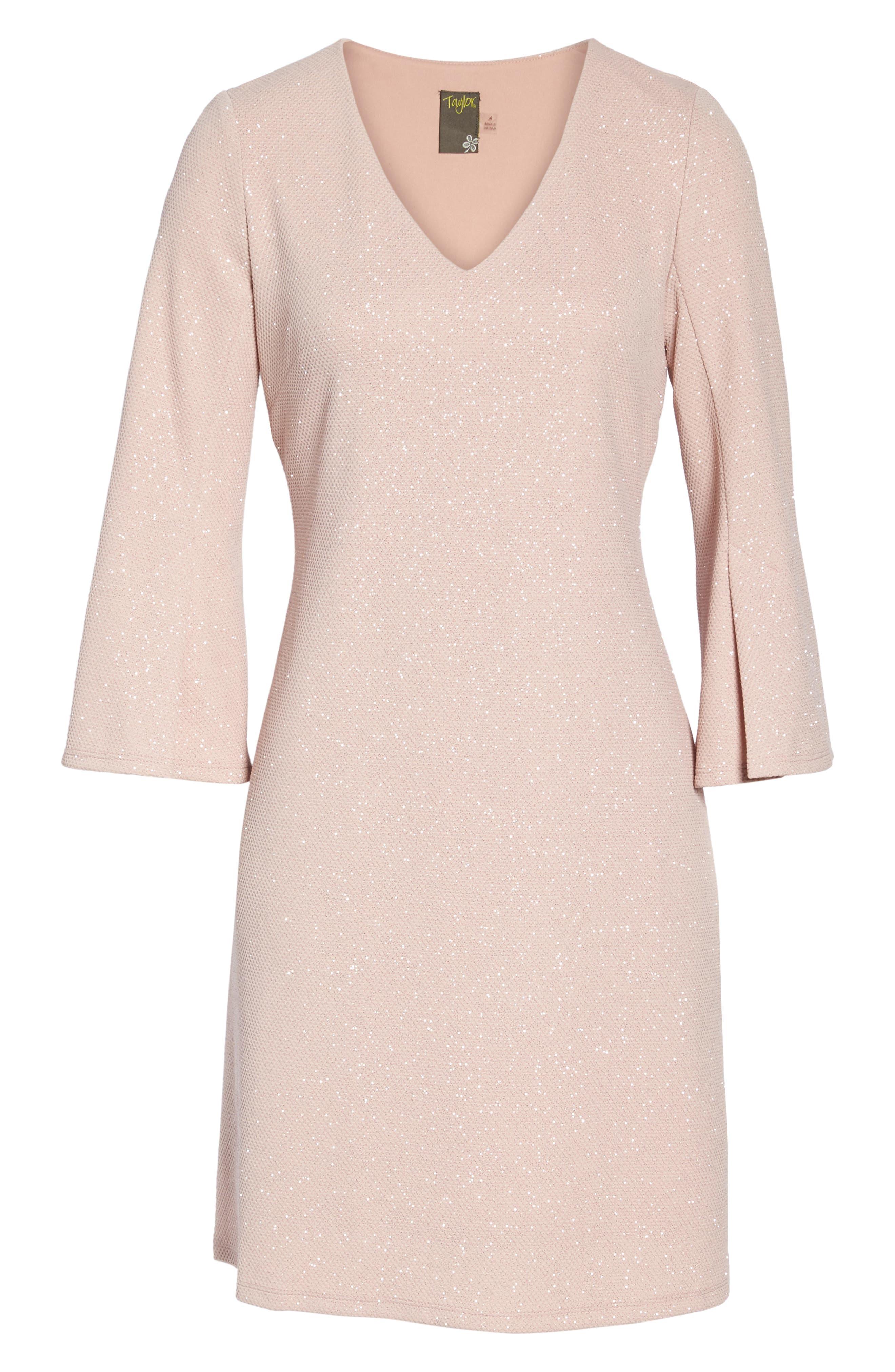 Bell Sleeve Shift Dress,                             Alternate thumbnail 5, color,                             Blush
