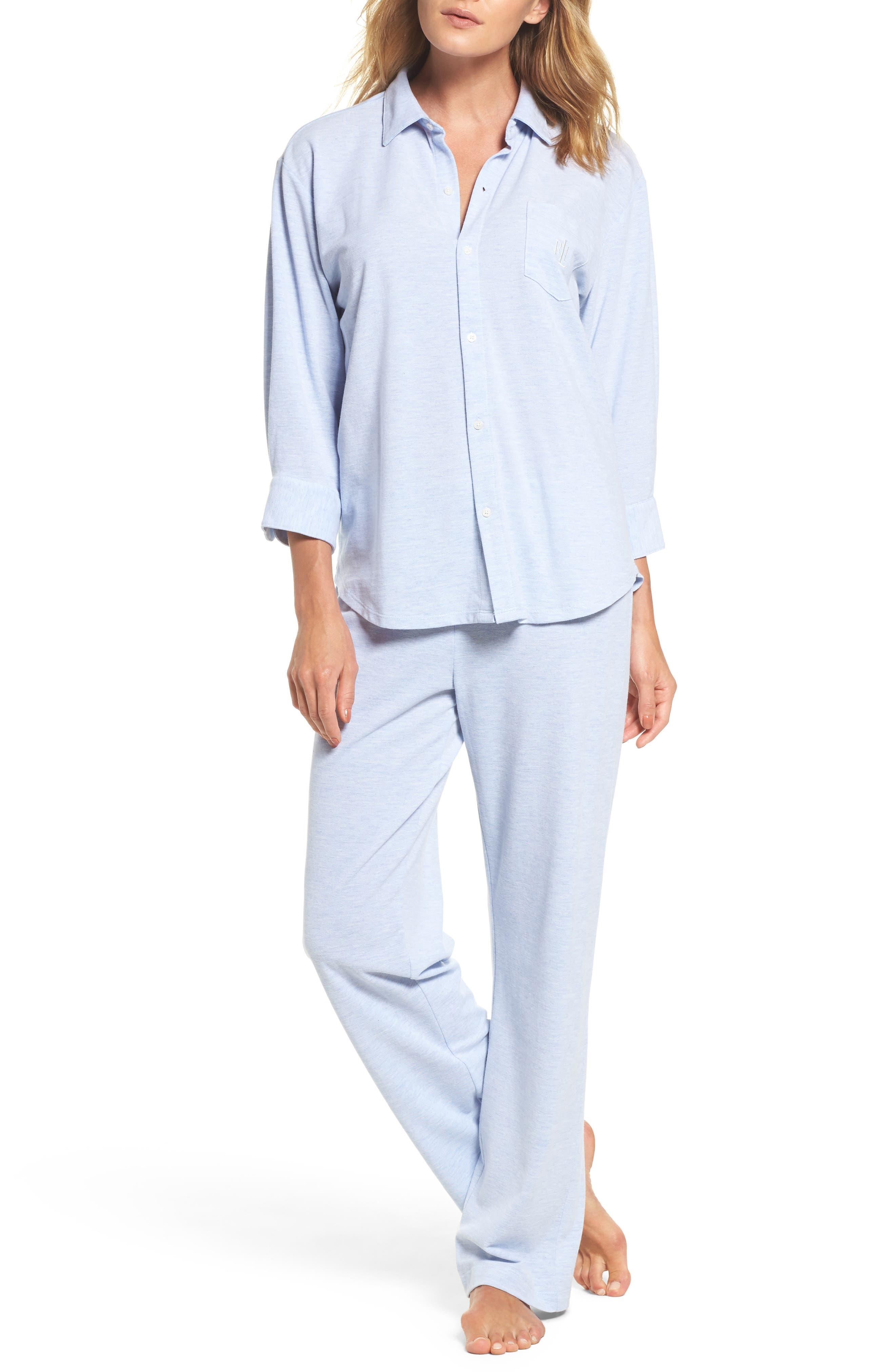 Long Pajamas,                         Main,                         color, Blue Heather