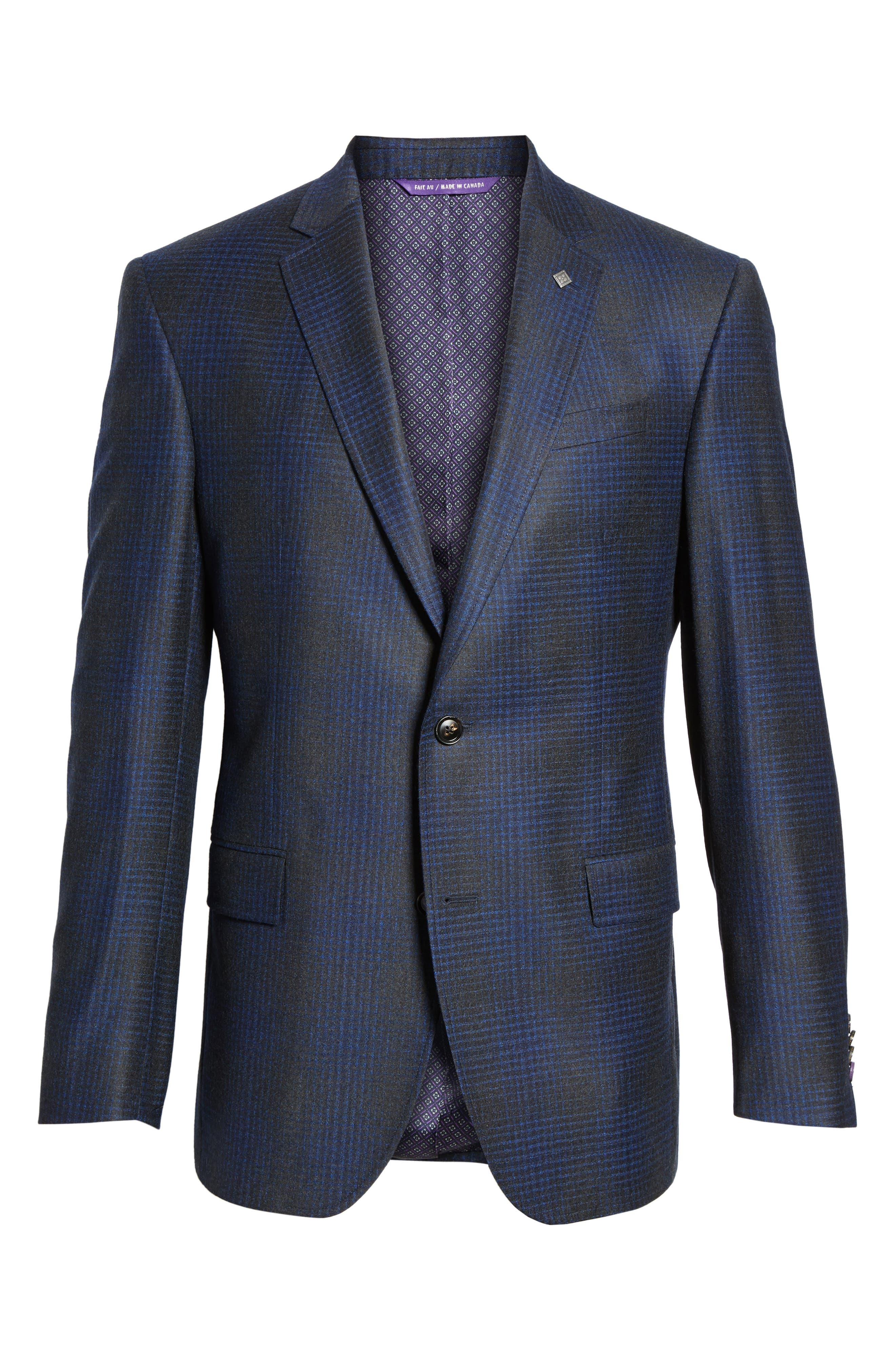Trim Fit Plaid Wool Sport Coat,                             Alternate thumbnail 6, color,                             Charcoal