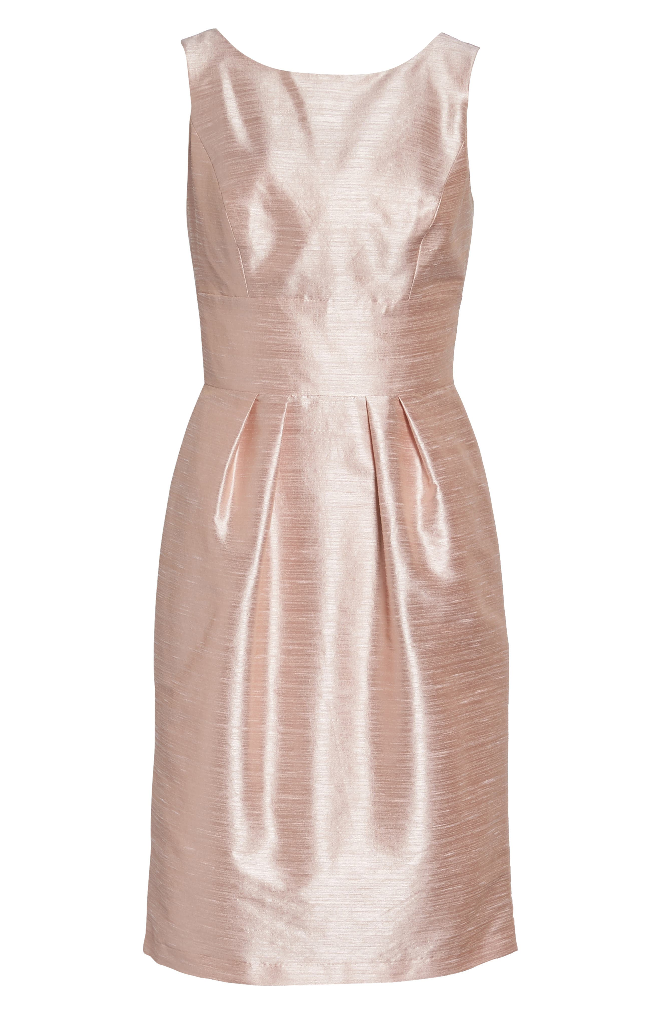 Boatneck Sheath Dress,                             Alternate thumbnail 6, color,                             Pearl Pink