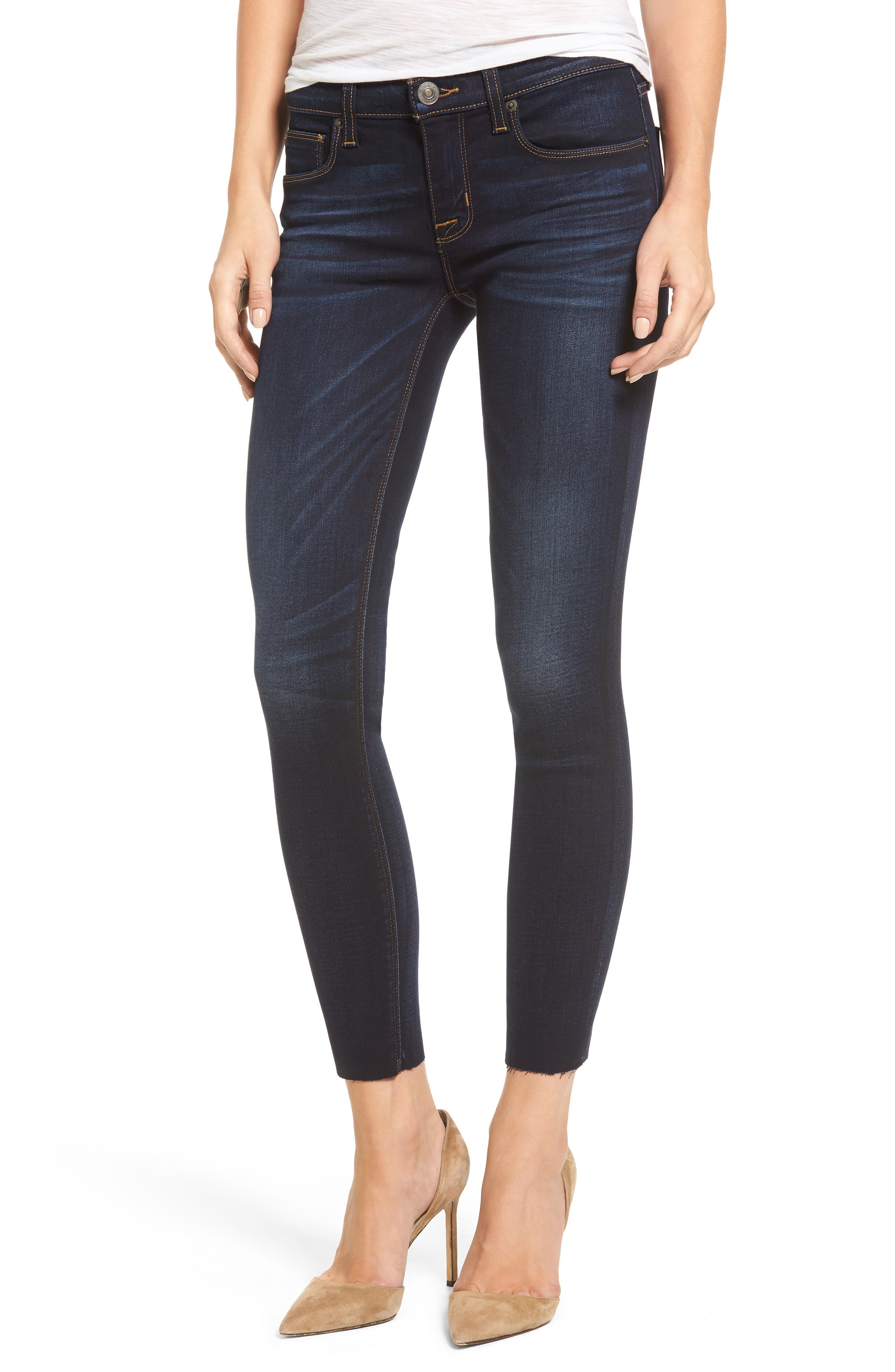 Alternate Image 1 Selected - Hudson Jeans 'Krista' Raw Hem Ankle Super Skinny Jeans (Calvary)