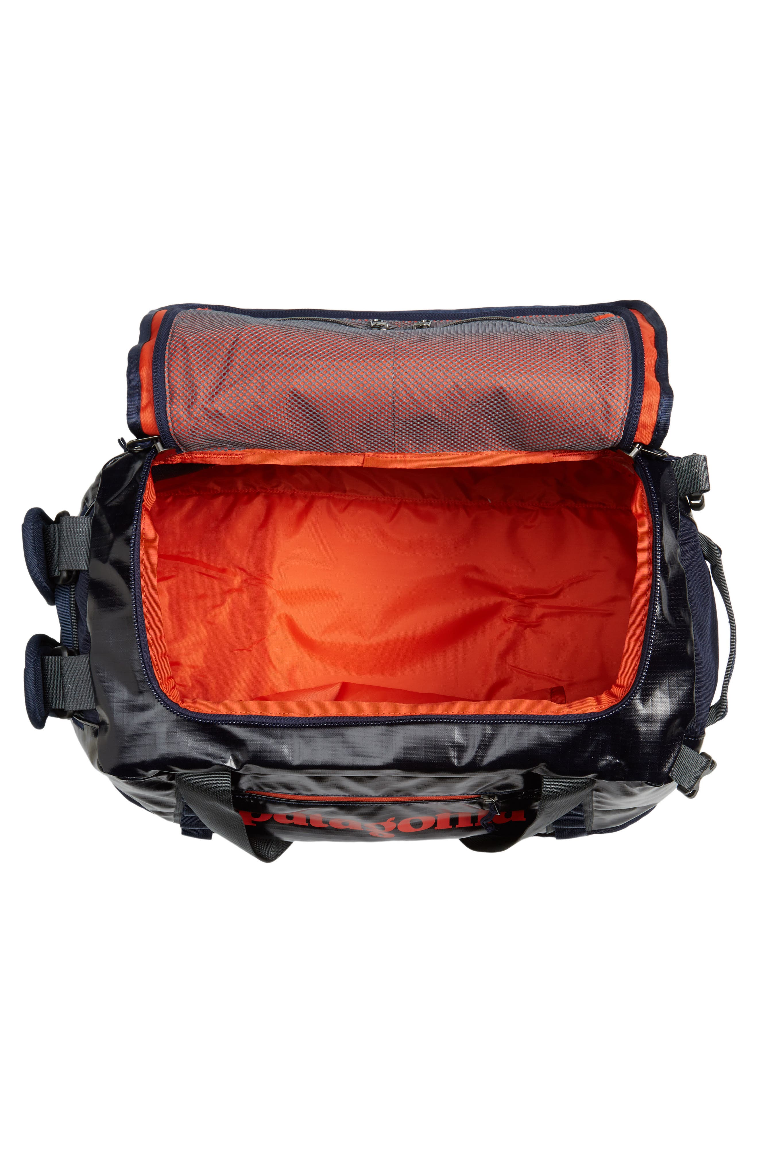Black Hole Water Repellent Duffel Bag,                             Alternate thumbnail 3, color,                             Navy Blue W/ Paintbrush Red