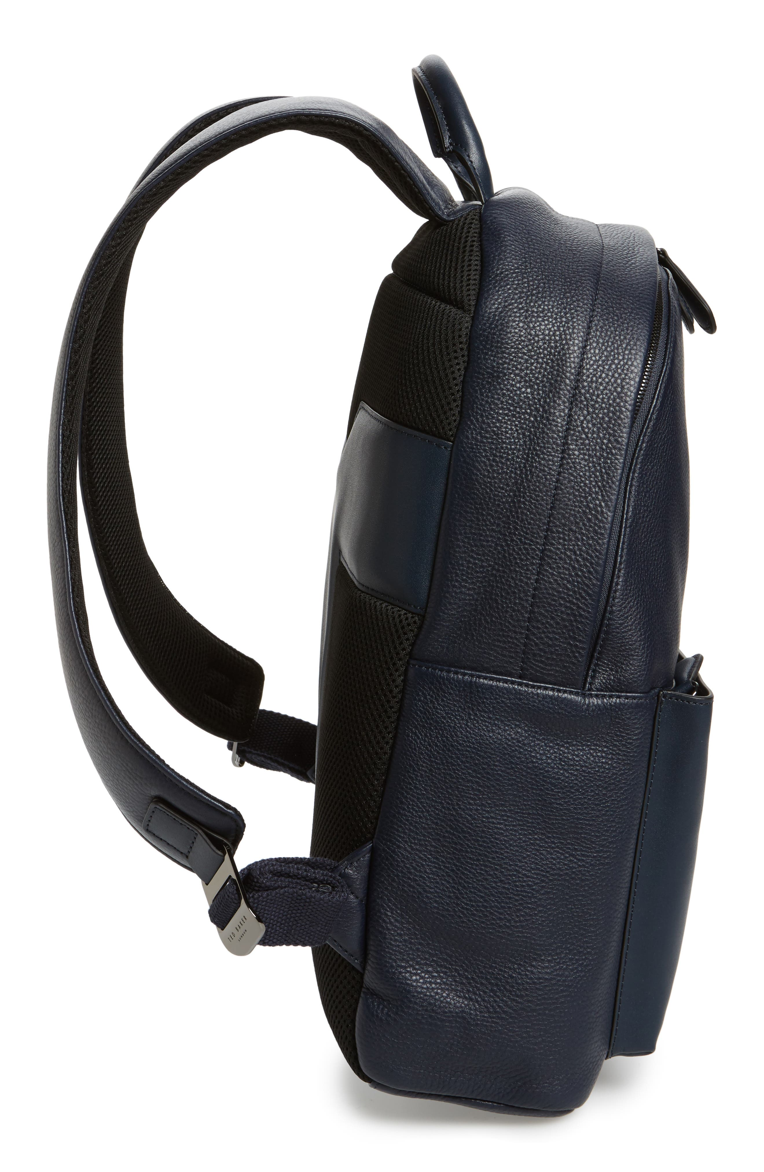Leather Backpack,                             Alternate thumbnail 5, color,                             Navy