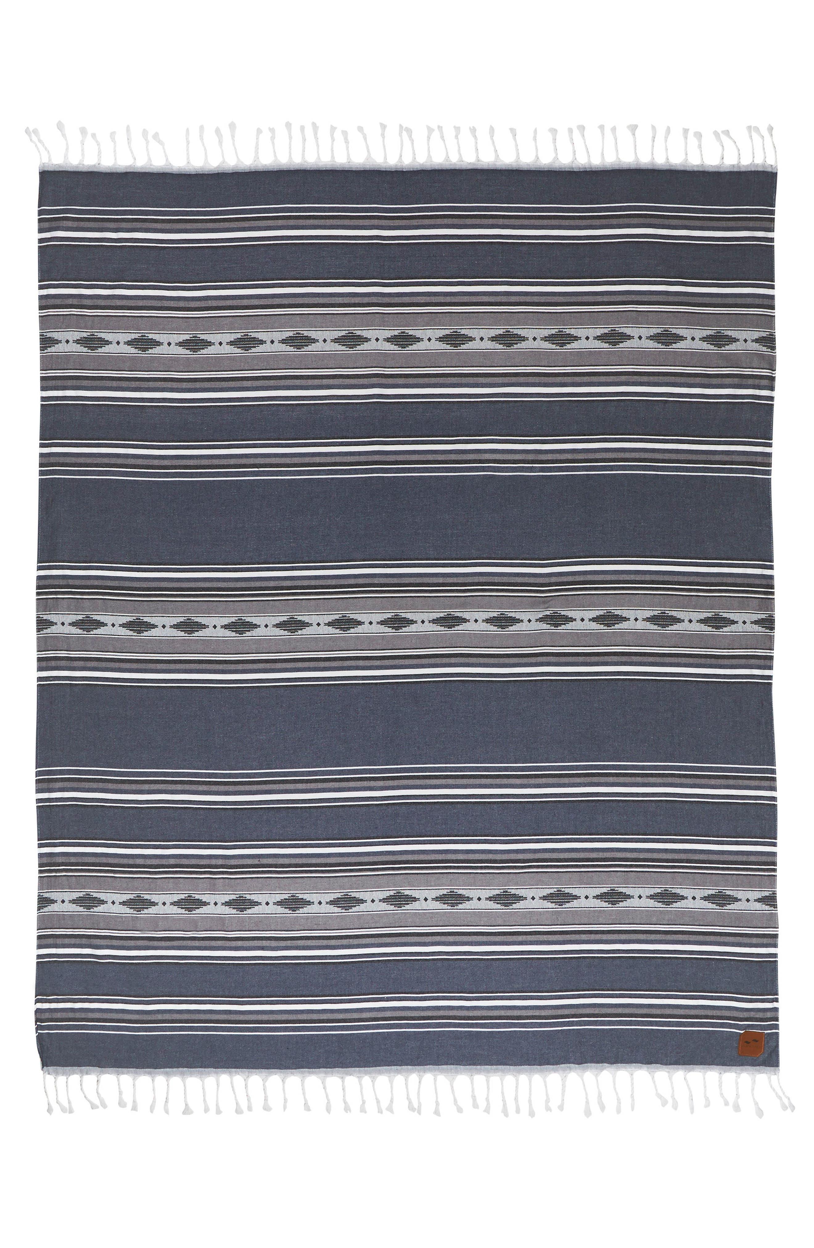 Fringe Beach Blanket,                         Main,                         color, Navy Blue
