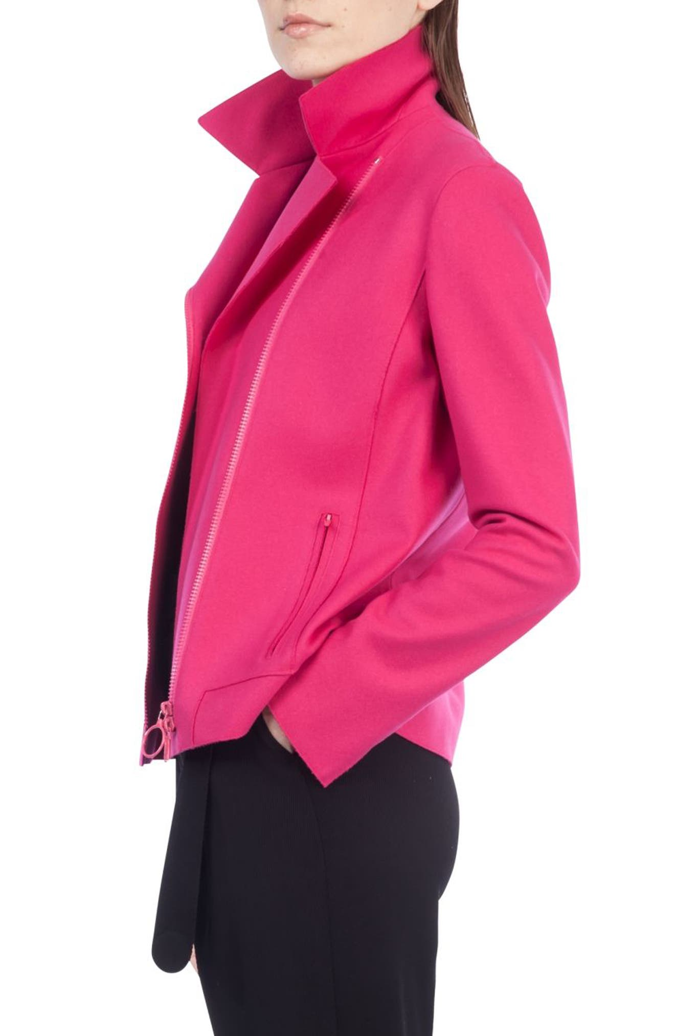 Taglio Vivo Biker Jacket,                             Alternate thumbnail 3, color,                             Sunset