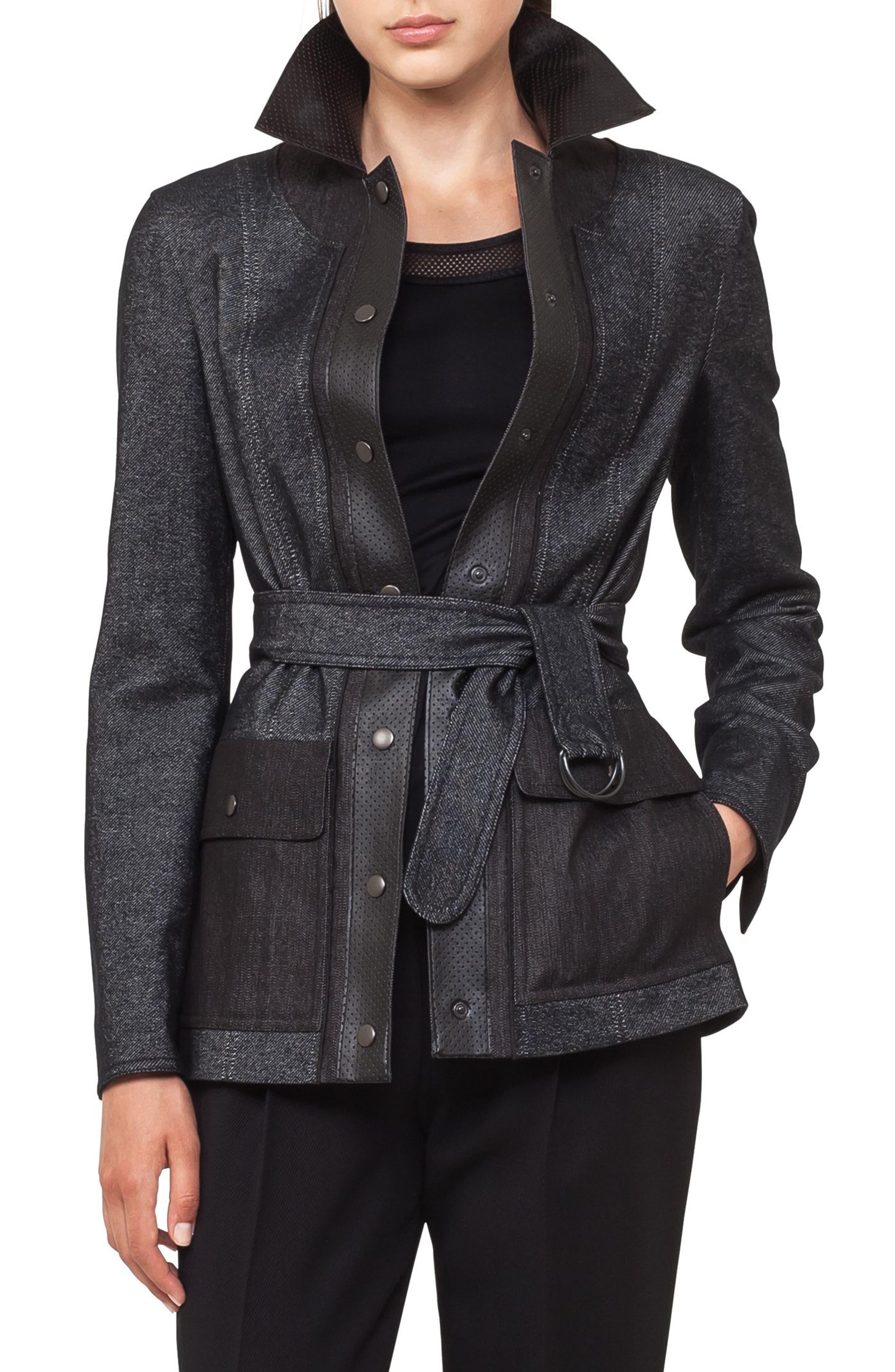 Leather Trim Denim Jacket,                             Main thumbnail 1, color,                             Black Denim
