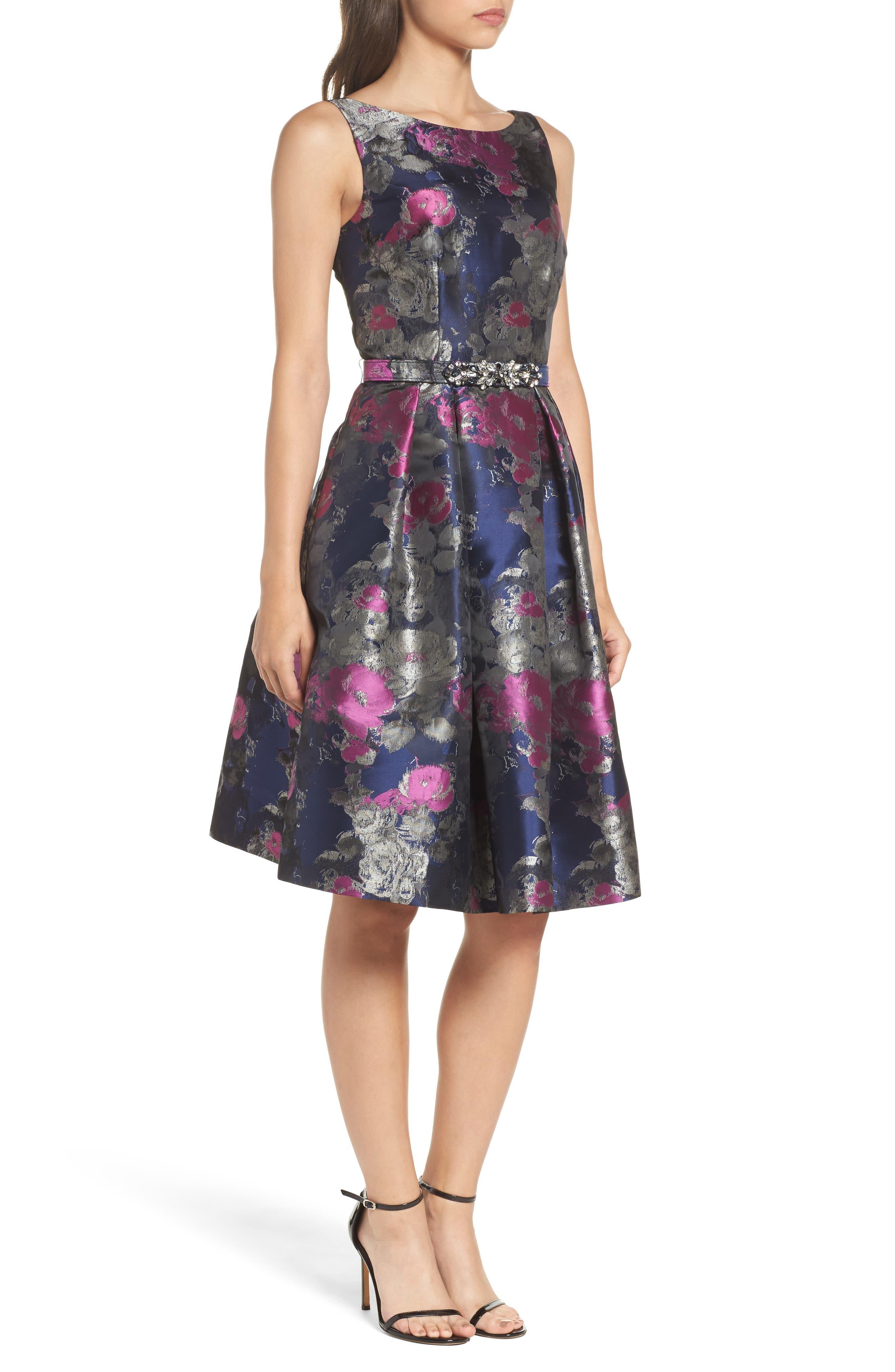 Jacquard Fit & Flare Dress,                             Alternate thumbnail 3, color,                             Navy/ Malbec