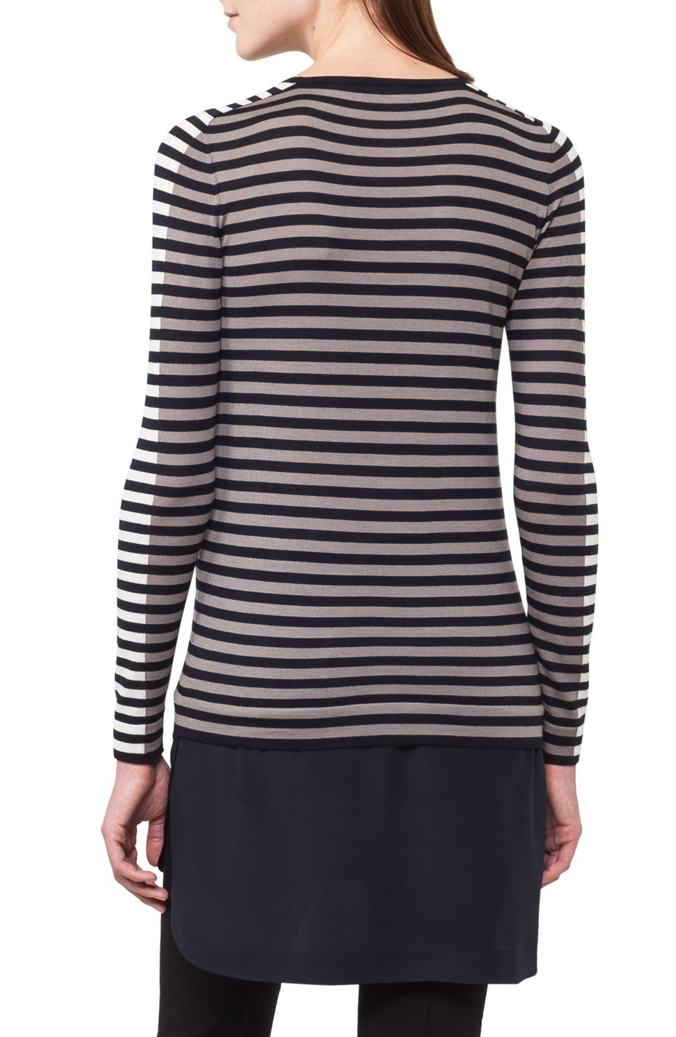 Multicolor Stripe Wool Pullover,                             Alternate thumbnail 2, color,                             Navy/ Taupe/ Cream