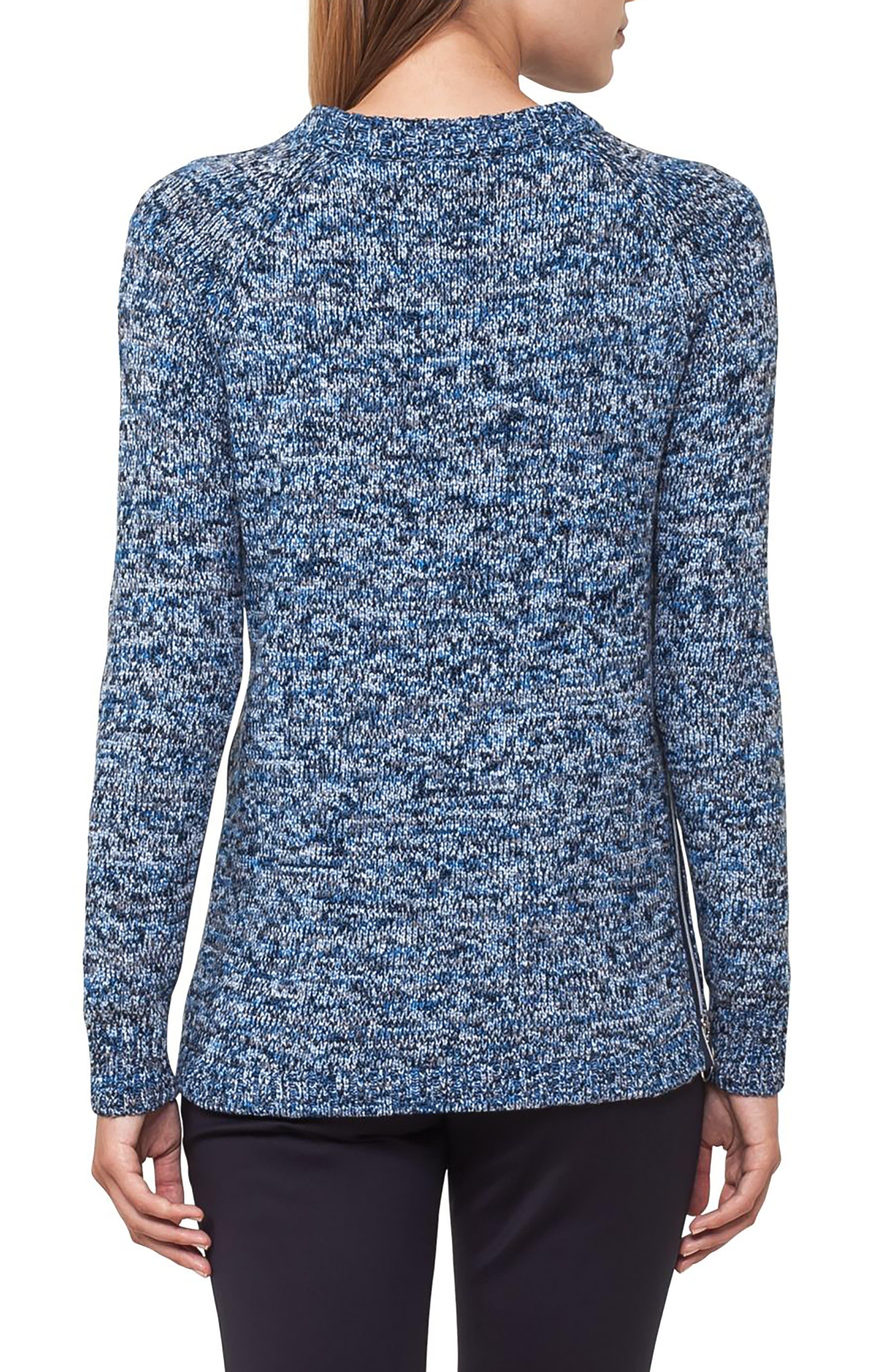 Cotton Blend Knit Pullover,                             Alternate thumbnail 2, color,                             Indigo-Cream