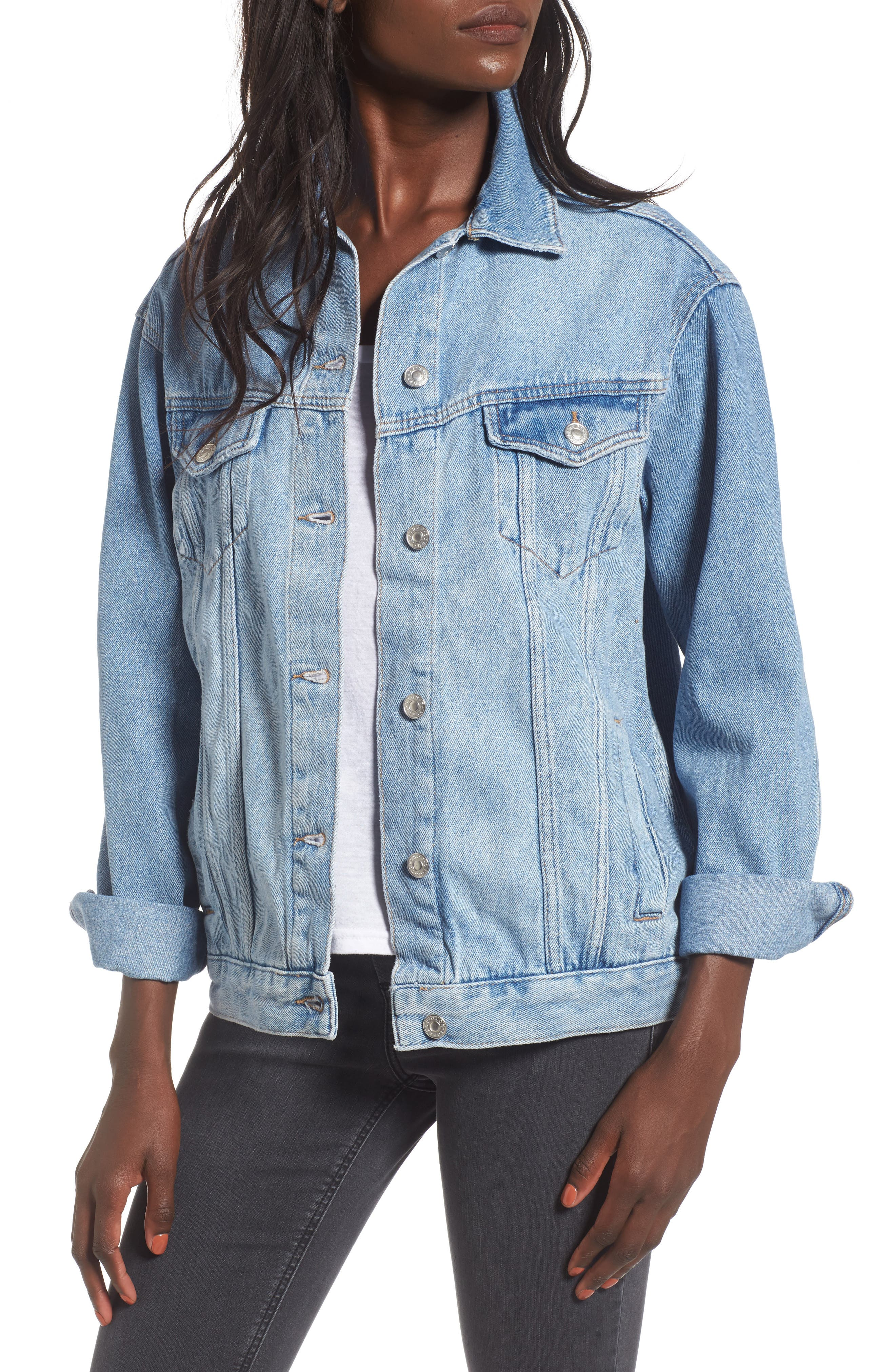 Topshop Studded Floral Denim Jacket
