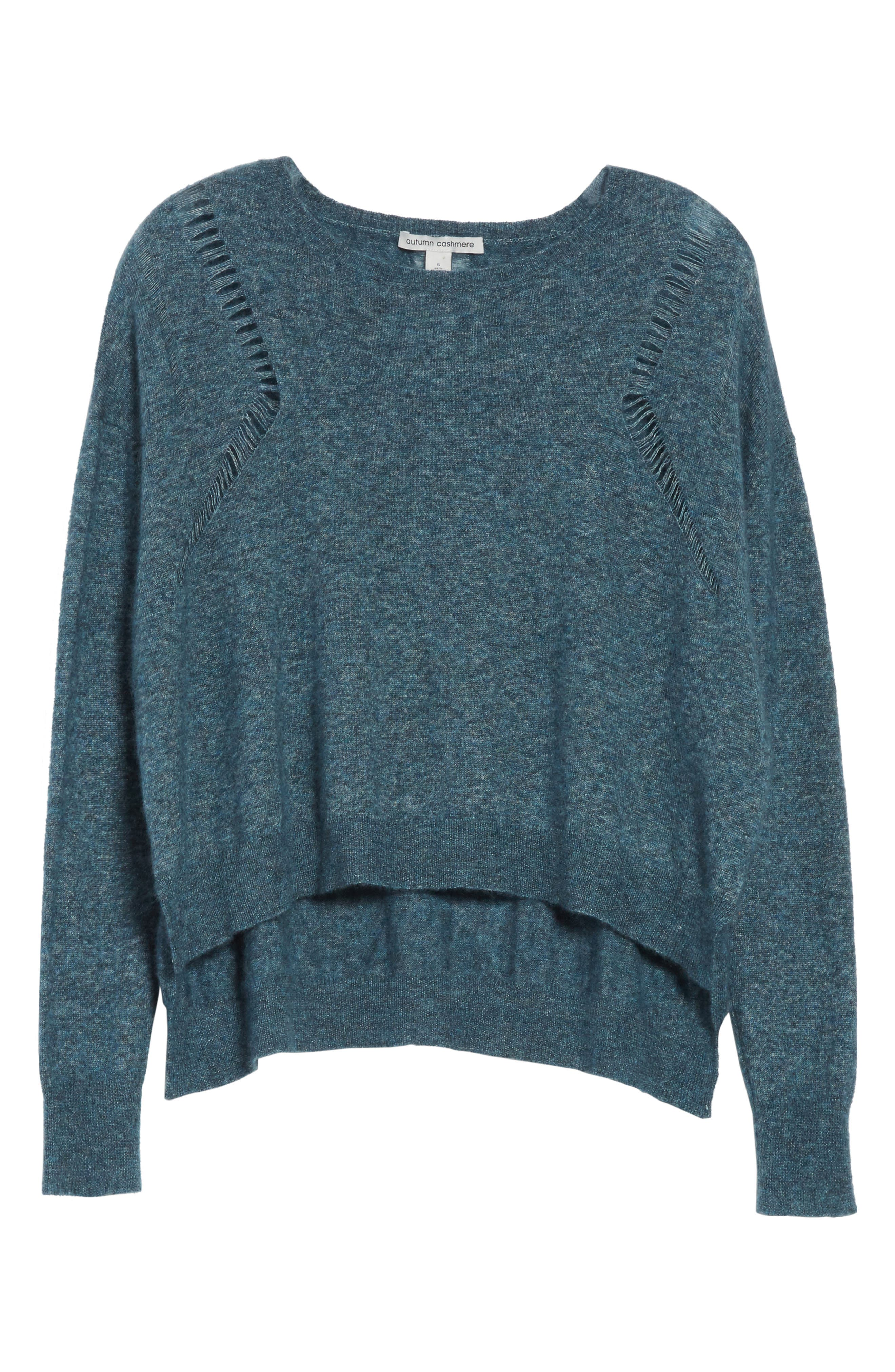 Boxy Ladder Stitch Cashmere & Silk Sweater,                             Alternate thumbnail 6, color,                             Marlin