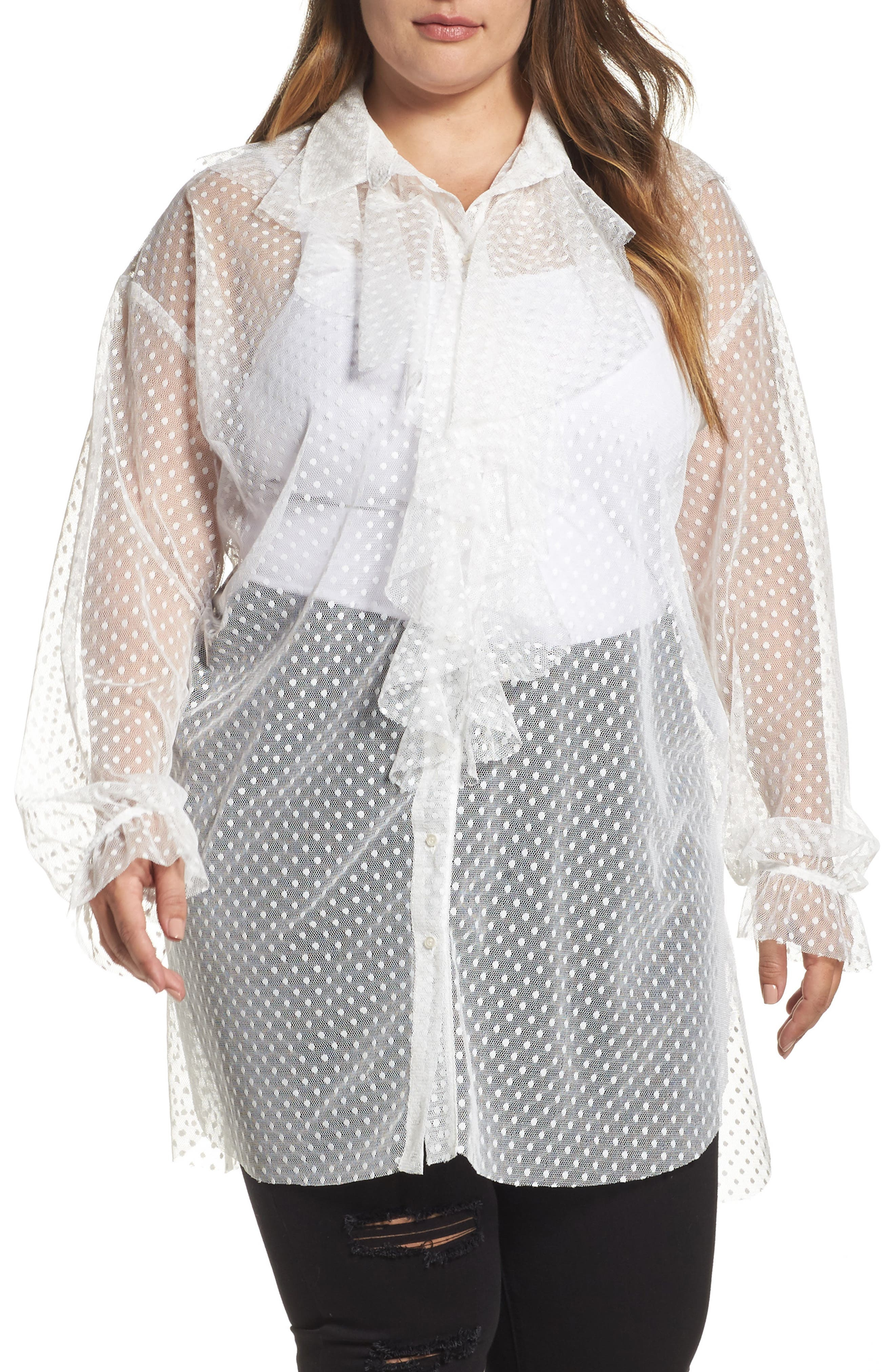 Polka Dot Mesh Ruffle Tunic Shirt,                         Main,                         color, White