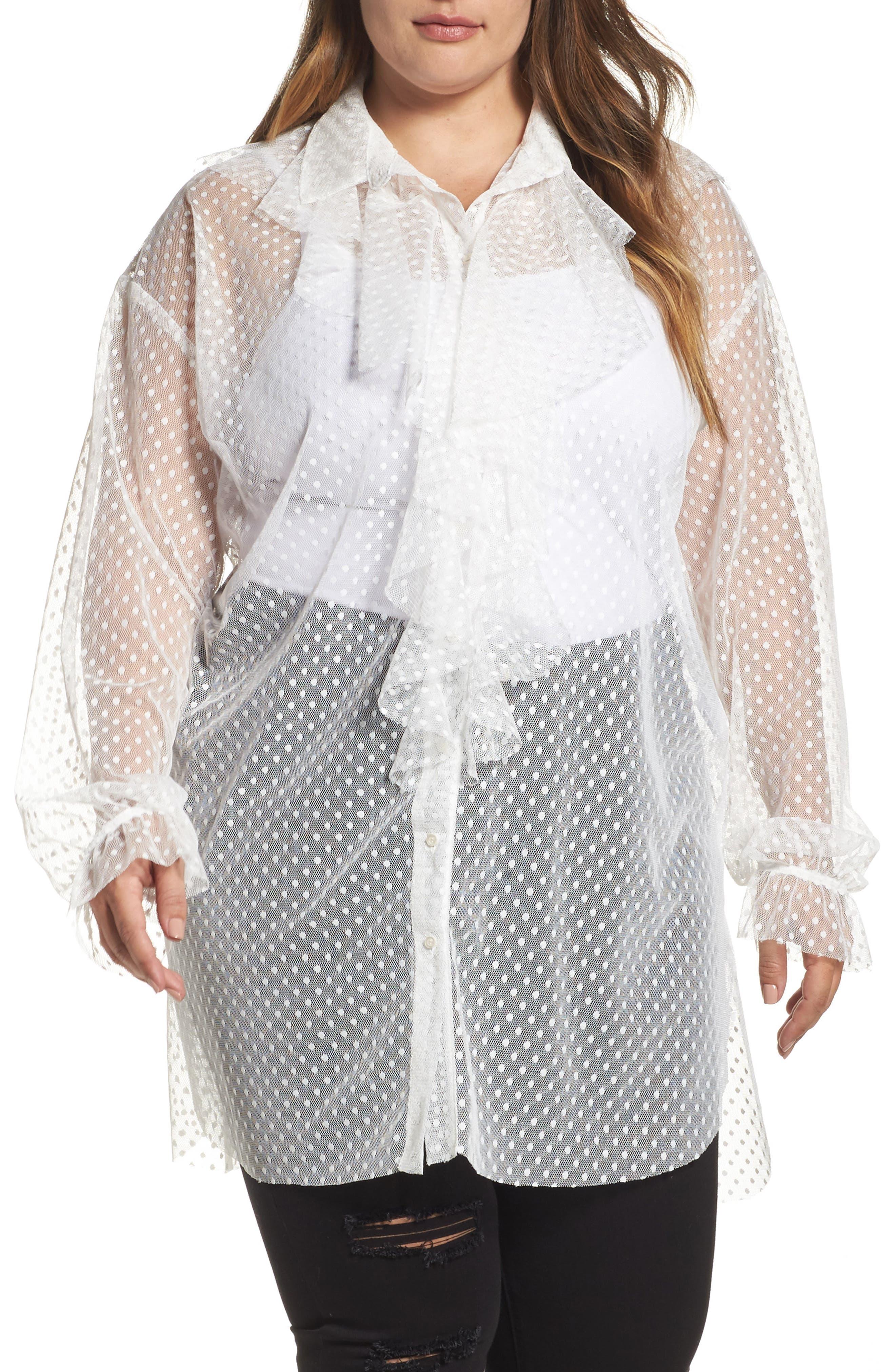 ELVI Polka Dot Mesh Ruffle Tunic Shirt (Plus Size)