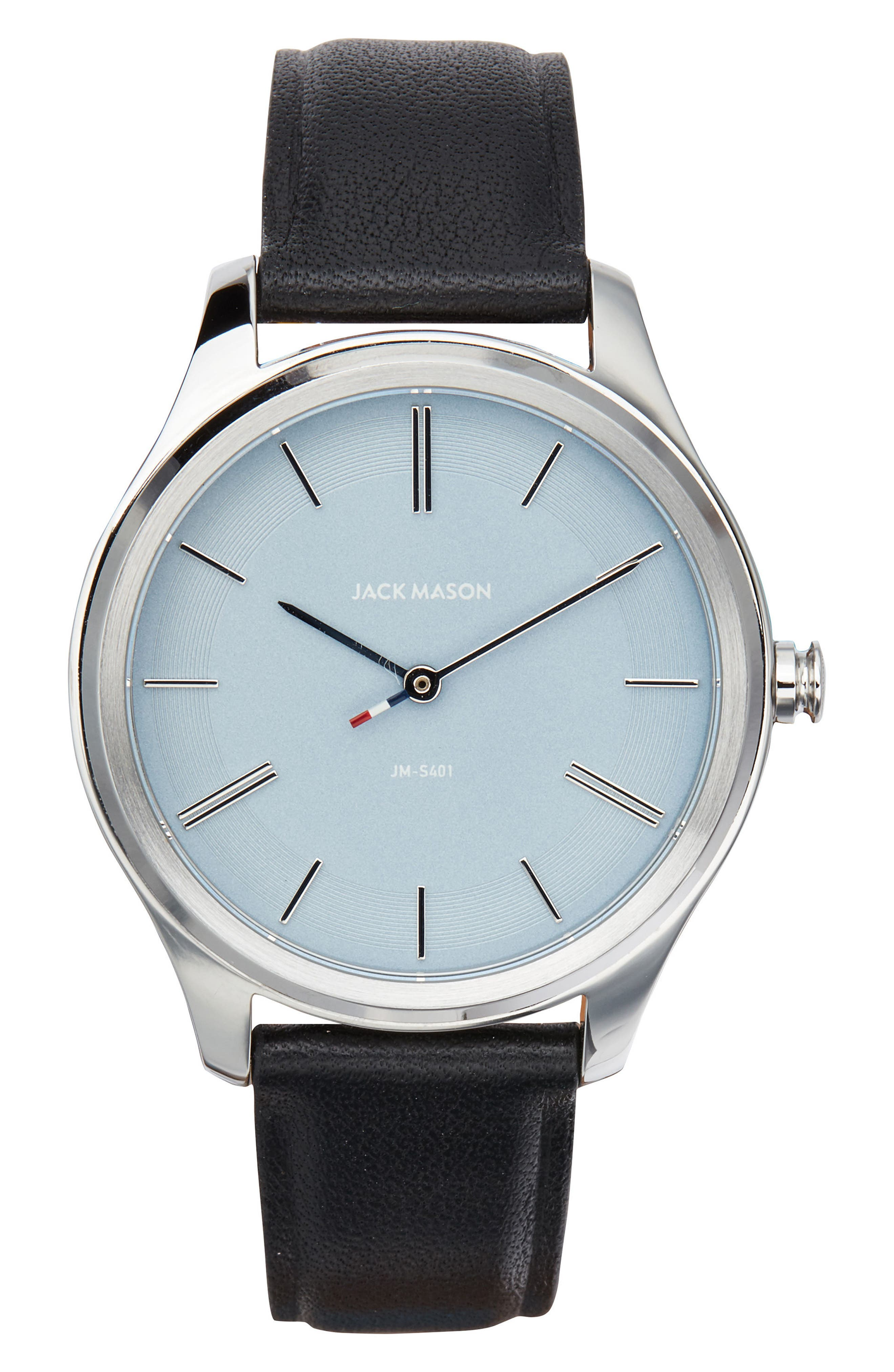 Slim Leather Strap Watch, 38mm,                         Main,                         color, Black/ Blue/ Silver