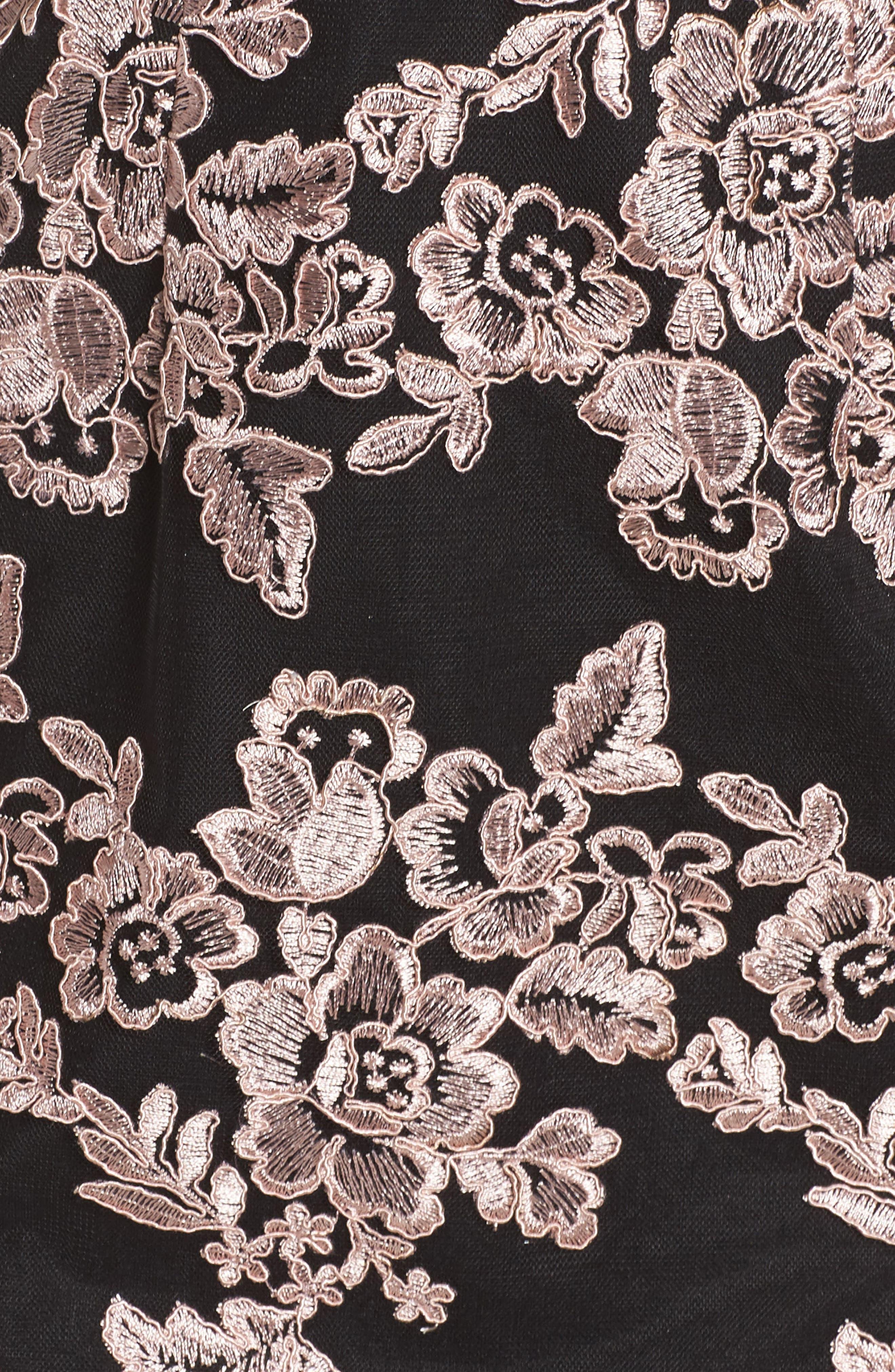 Plunge Lace Midi Dress,                             Alternate thumbnail 5, color,                             Black/ Mauve