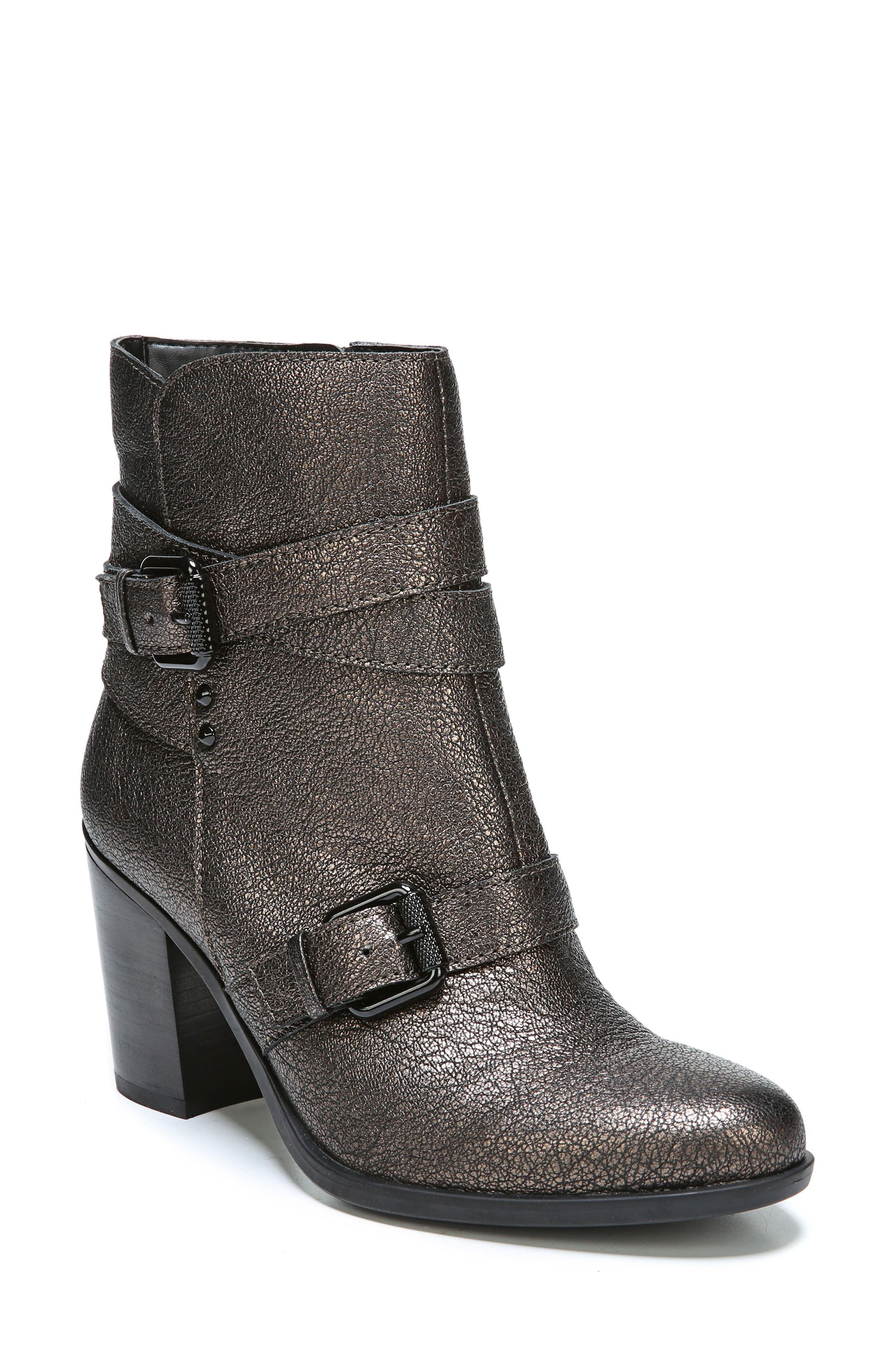 Karlie Buckle Bootie,                         Main,                         color, Bronze Leather