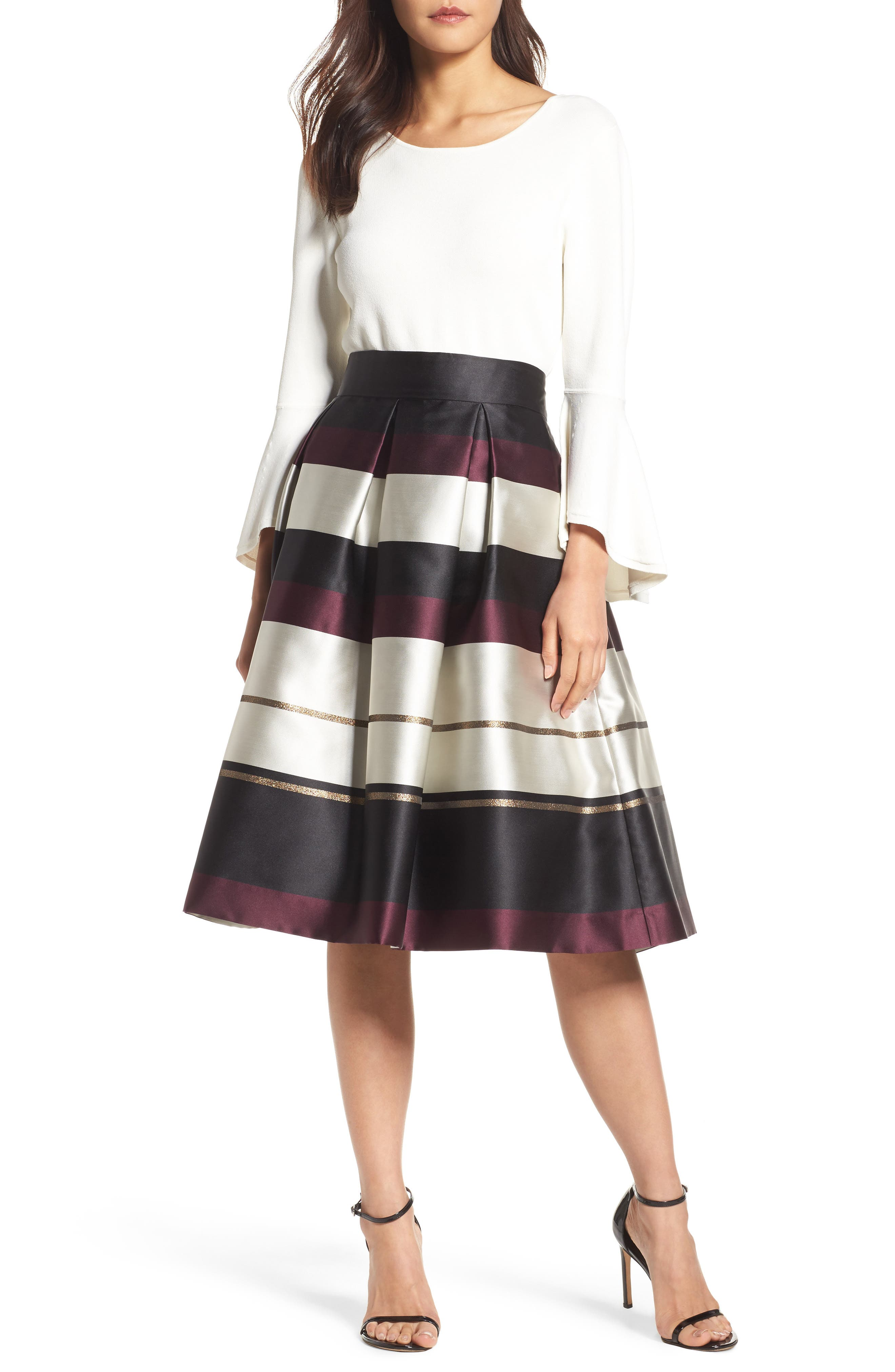 Eliza J  STRIPE FAILLE MIDI SKIRT