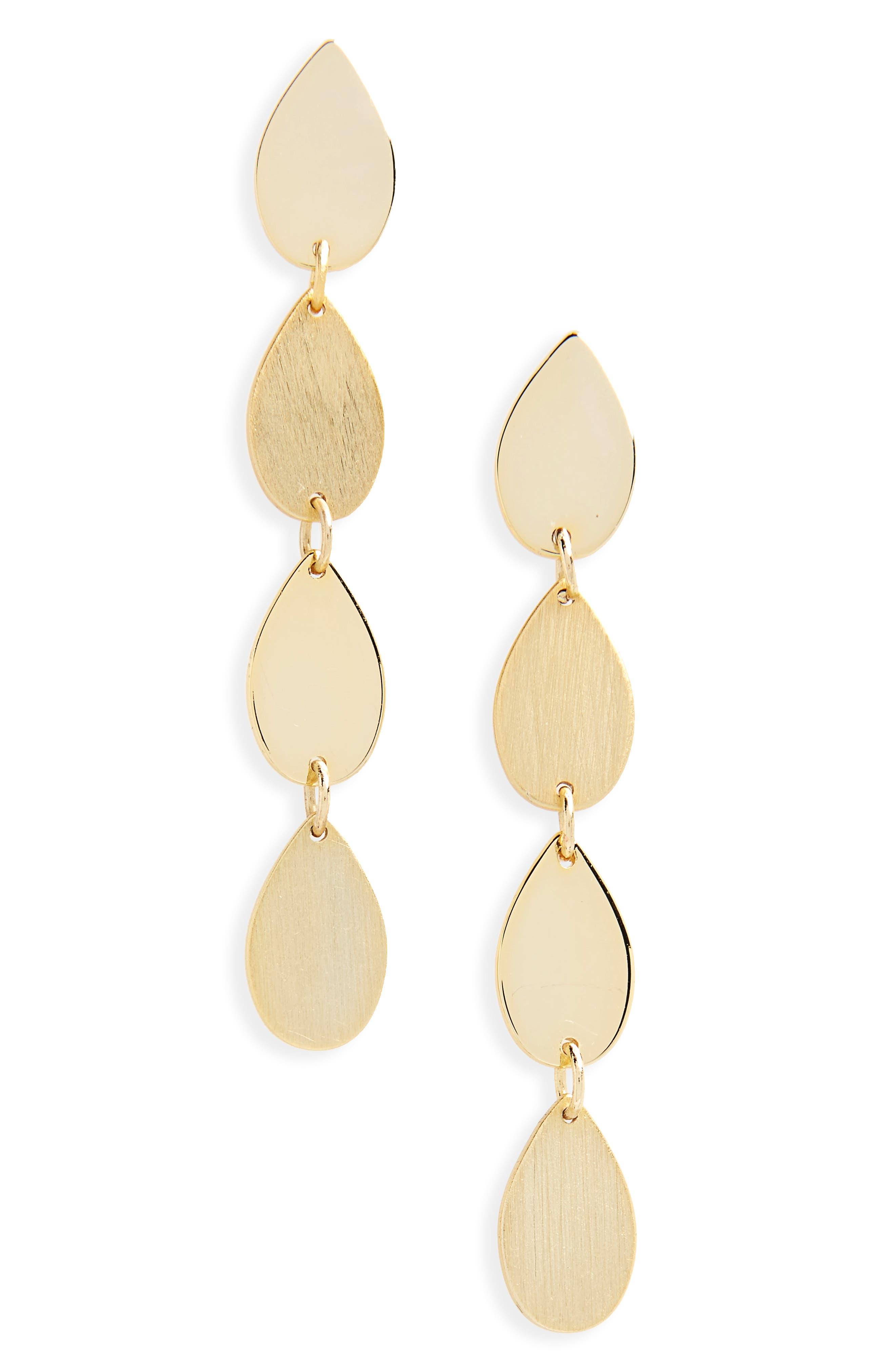 Teardrop Linear Drop Earings,                         Main,                         color, Gold