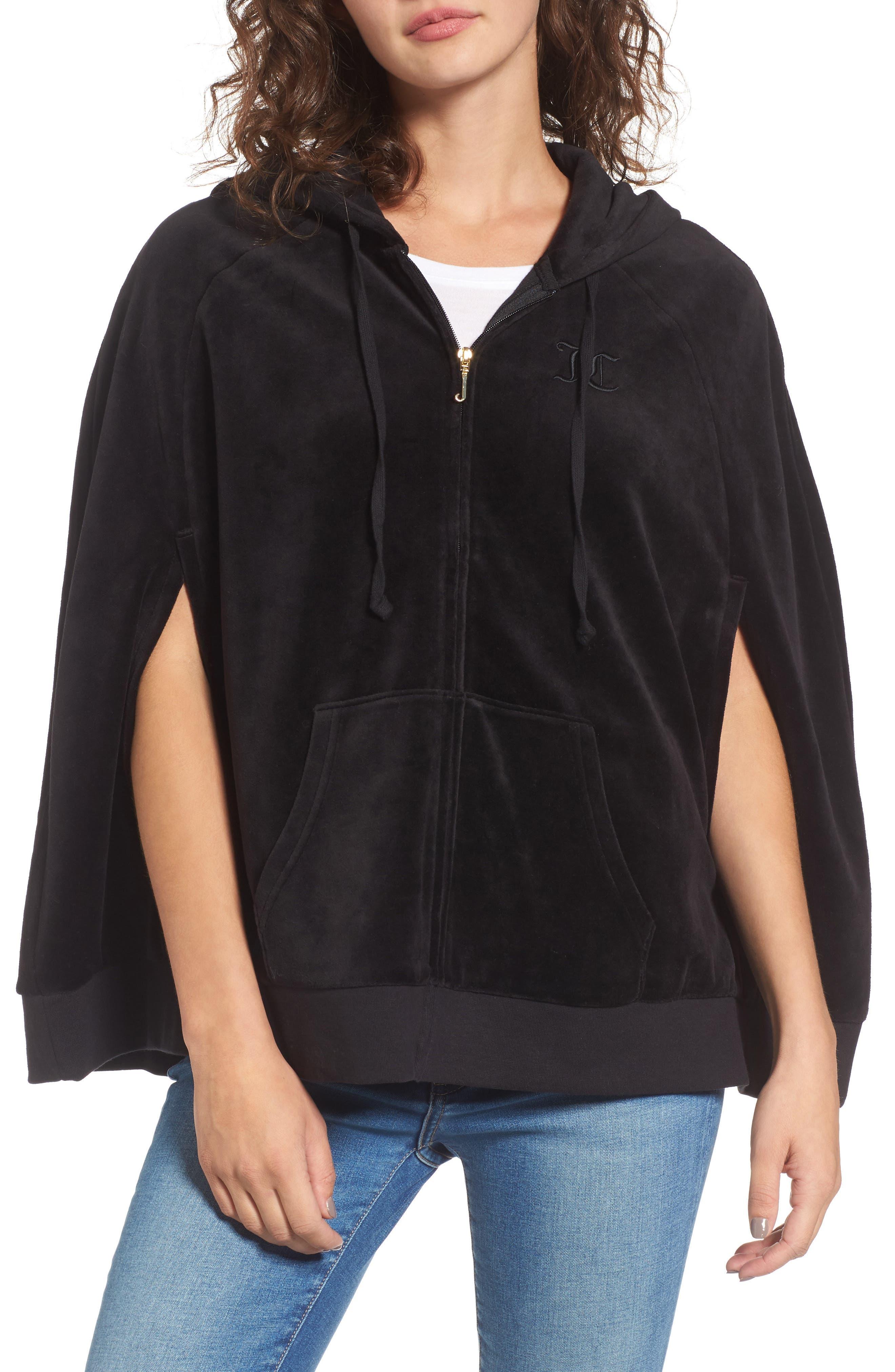 Velour Cape Jacket,                         Main,                         color, Pitch Black