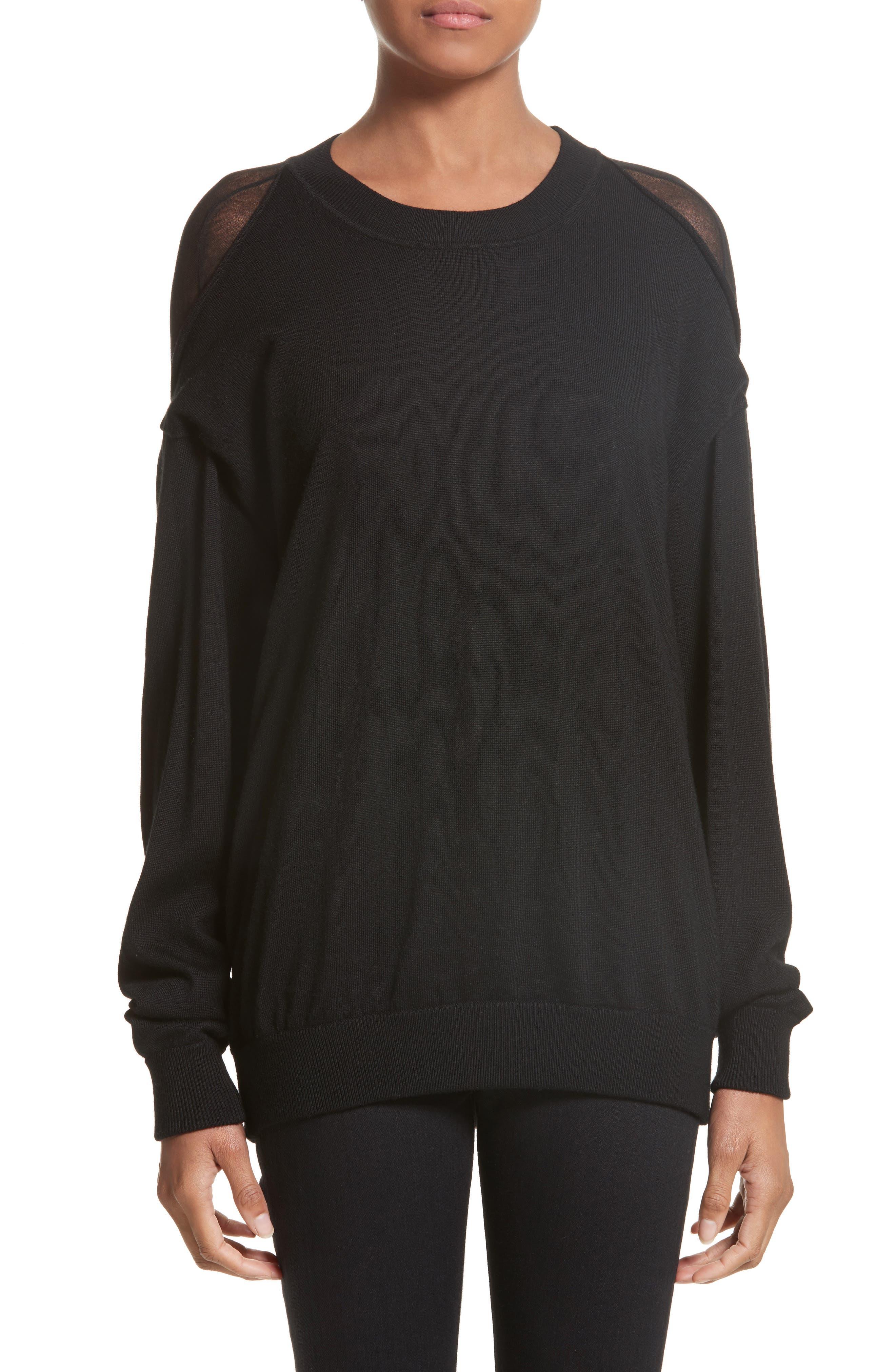 Drape Back Merino Wool Sweater,                         Main,                         color, Black