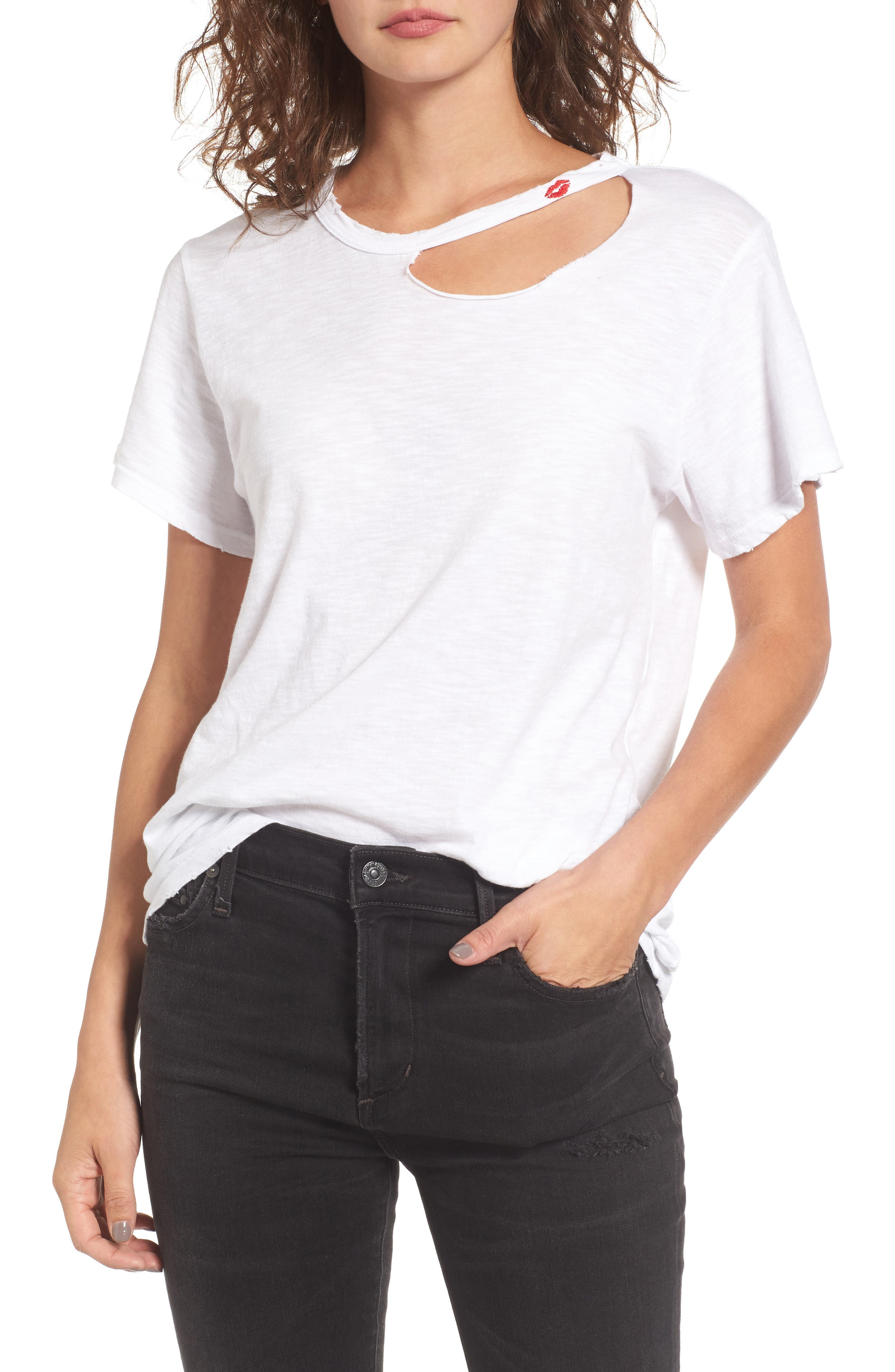 Kissed Cutout Tee,                         Main,                         color, White