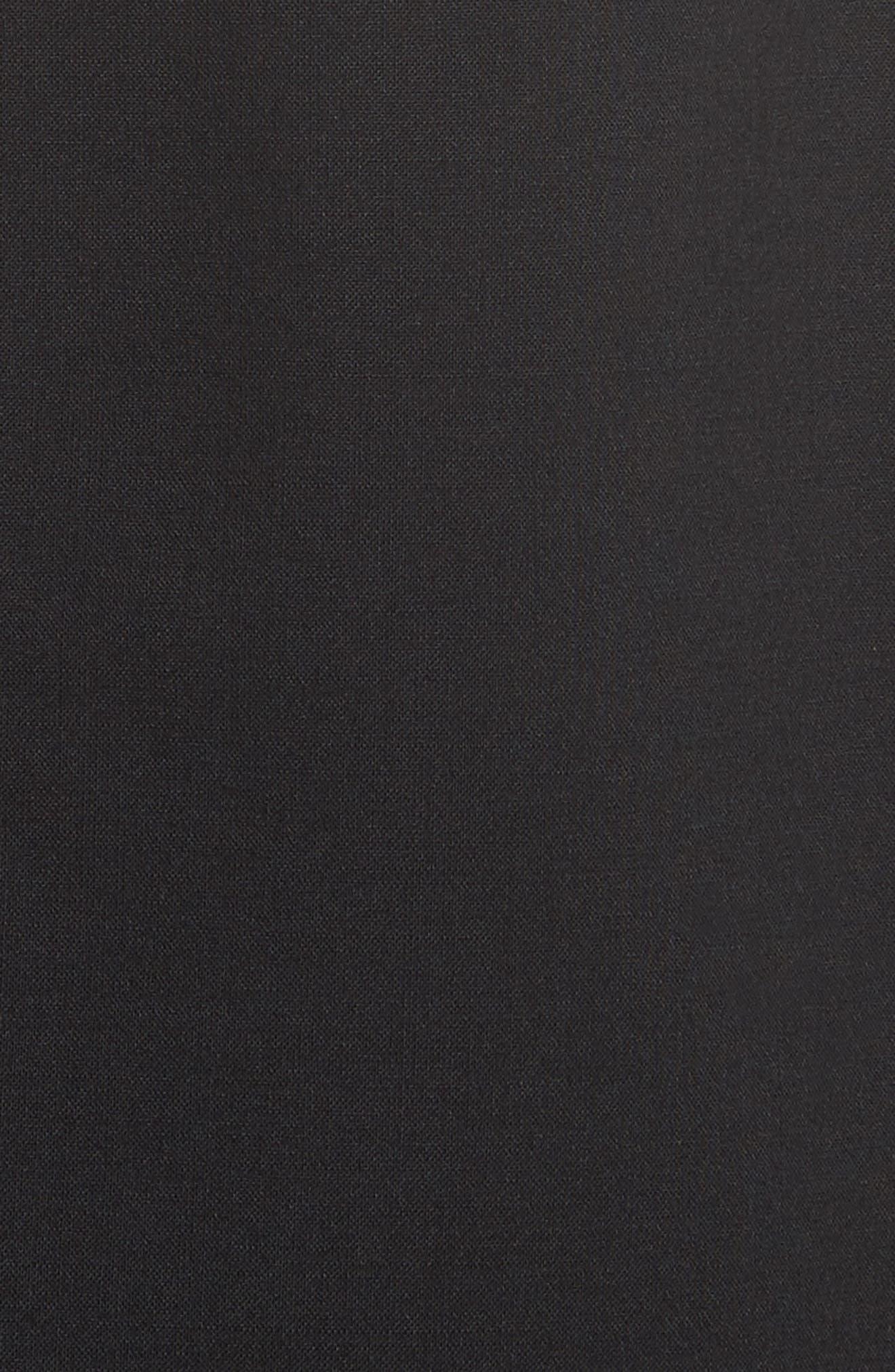 Hook Detail Stretch Wool Long Vest,                             Alternate thumbnail 5, color,                             Black/ Black