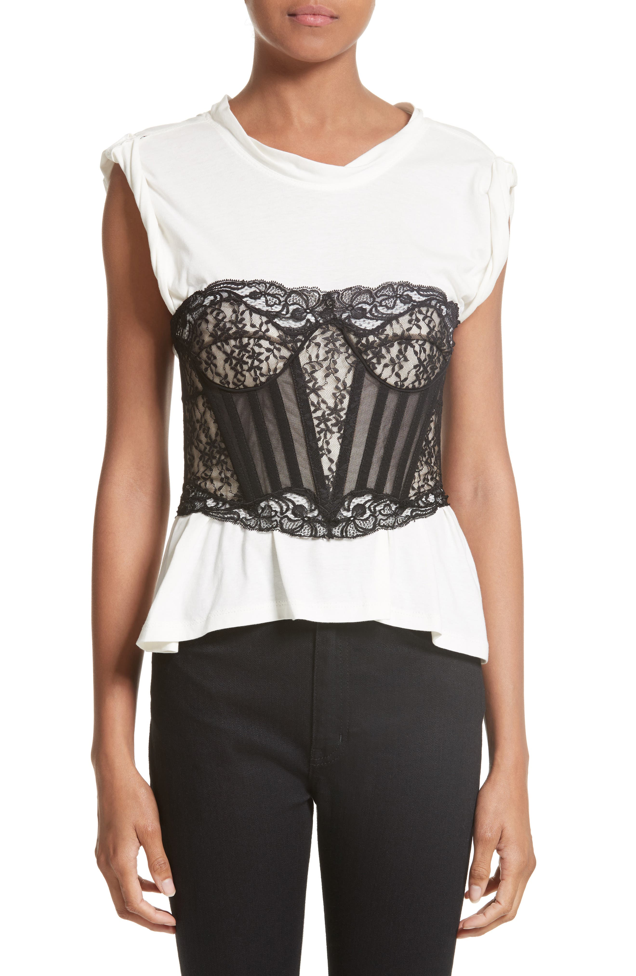 Cotton Top with Lace Bustier,                         Main,                         color, Ivory