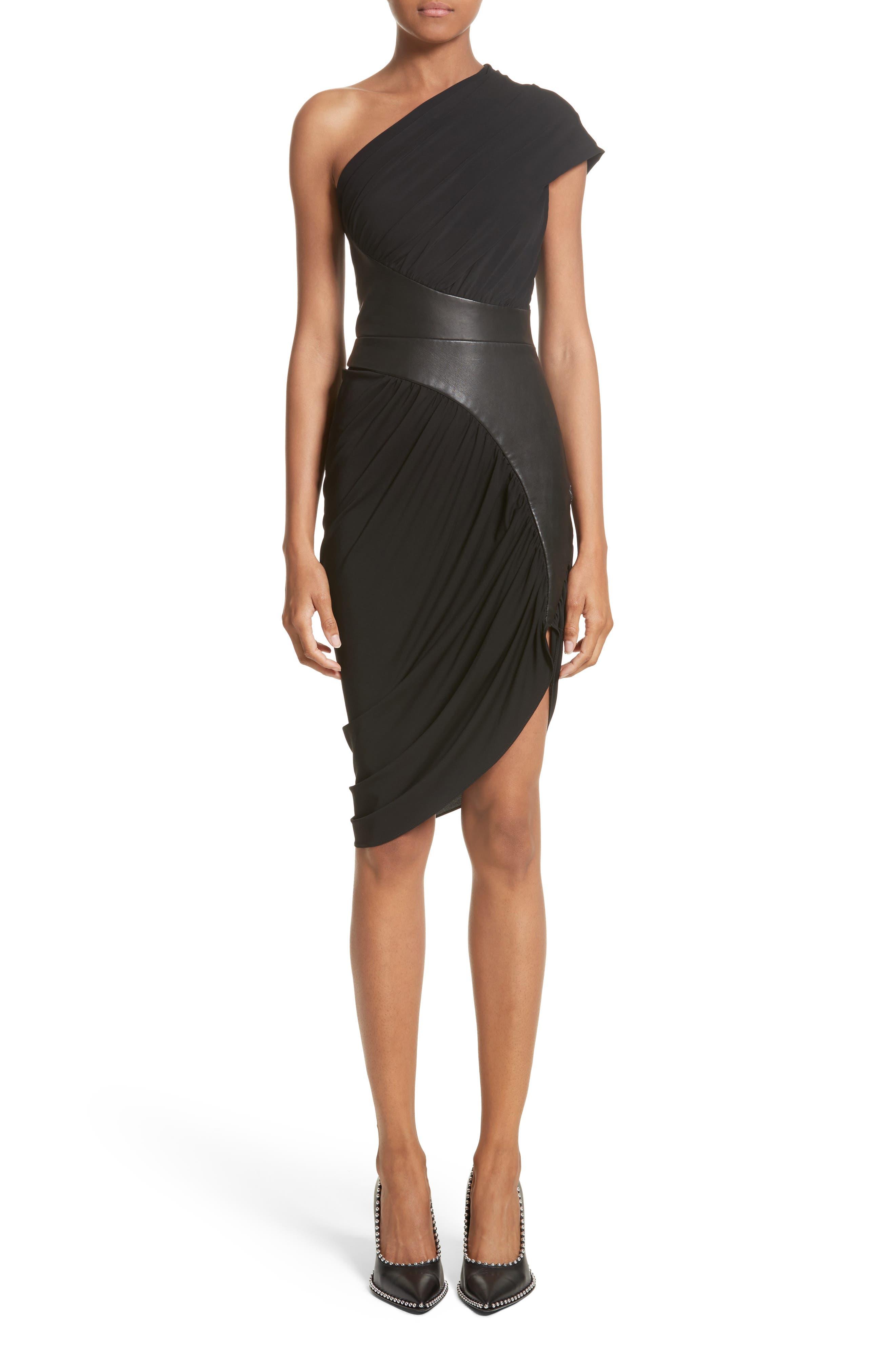 Leather Detail Draped One-Shoulder Dress,                         Main,                         color, Black