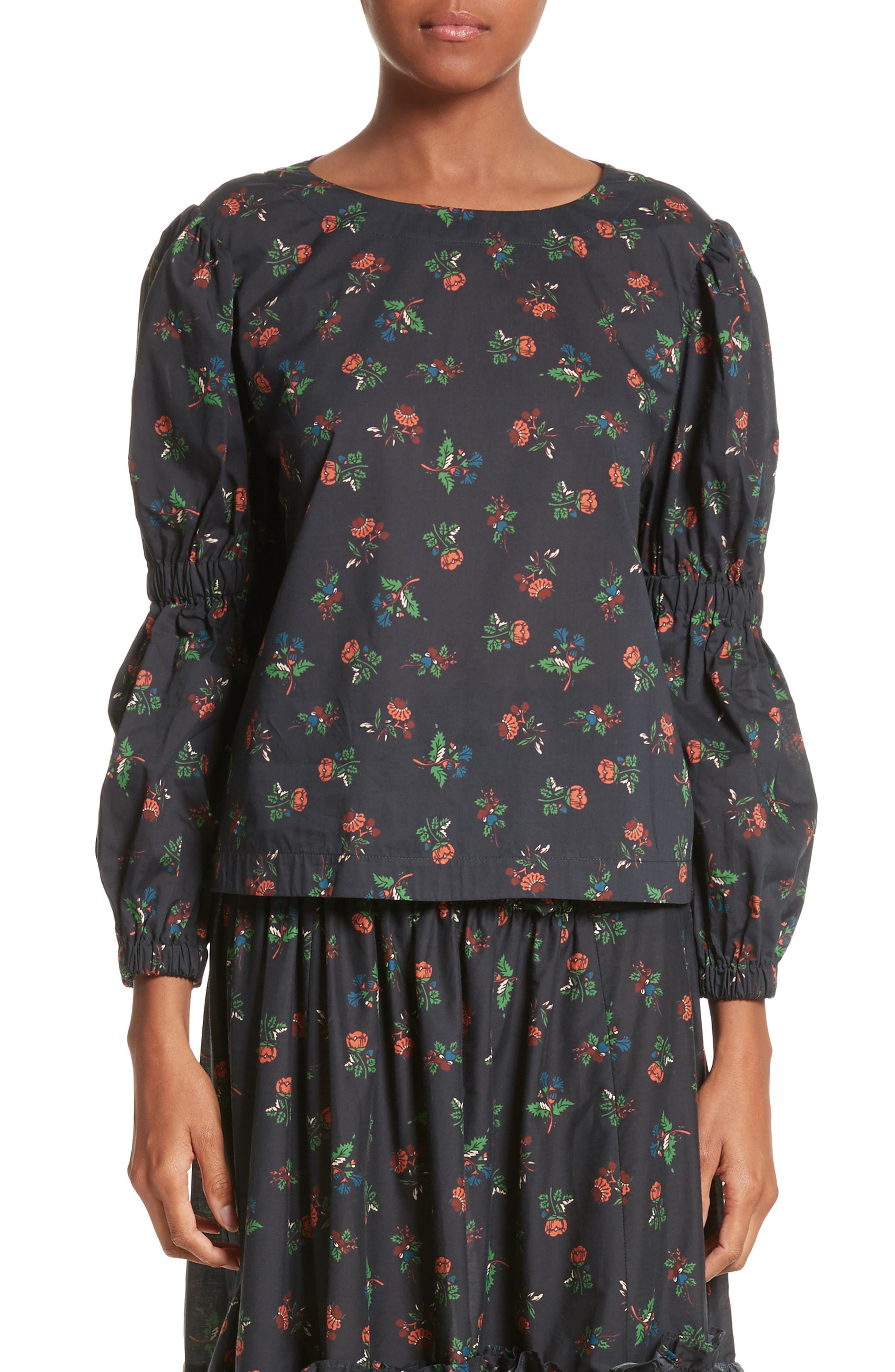 Floral Puff Sleeve Top,                         Main,                         color, Black