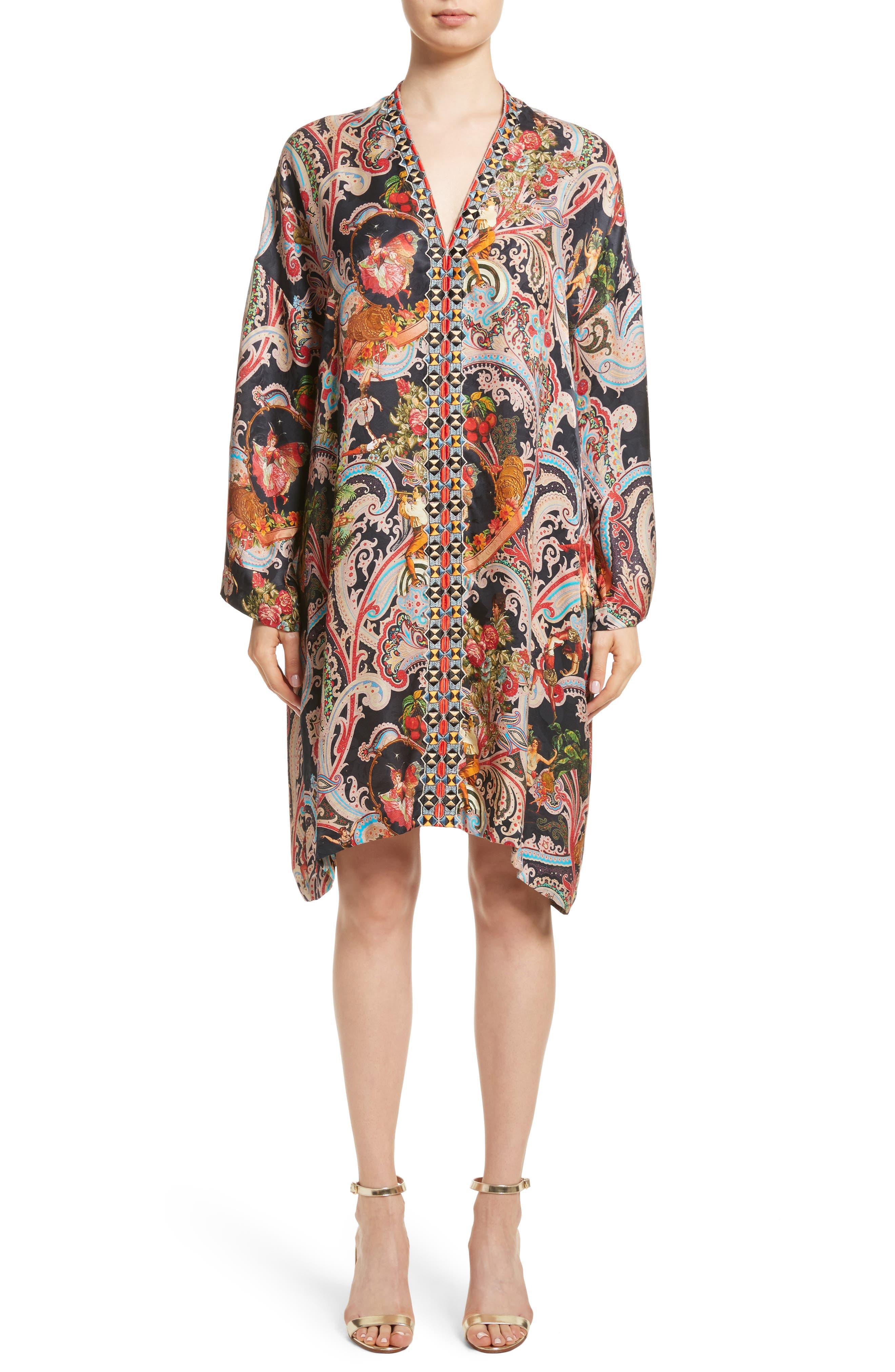 Print Caftan Dress,                         Main,                         color, Black