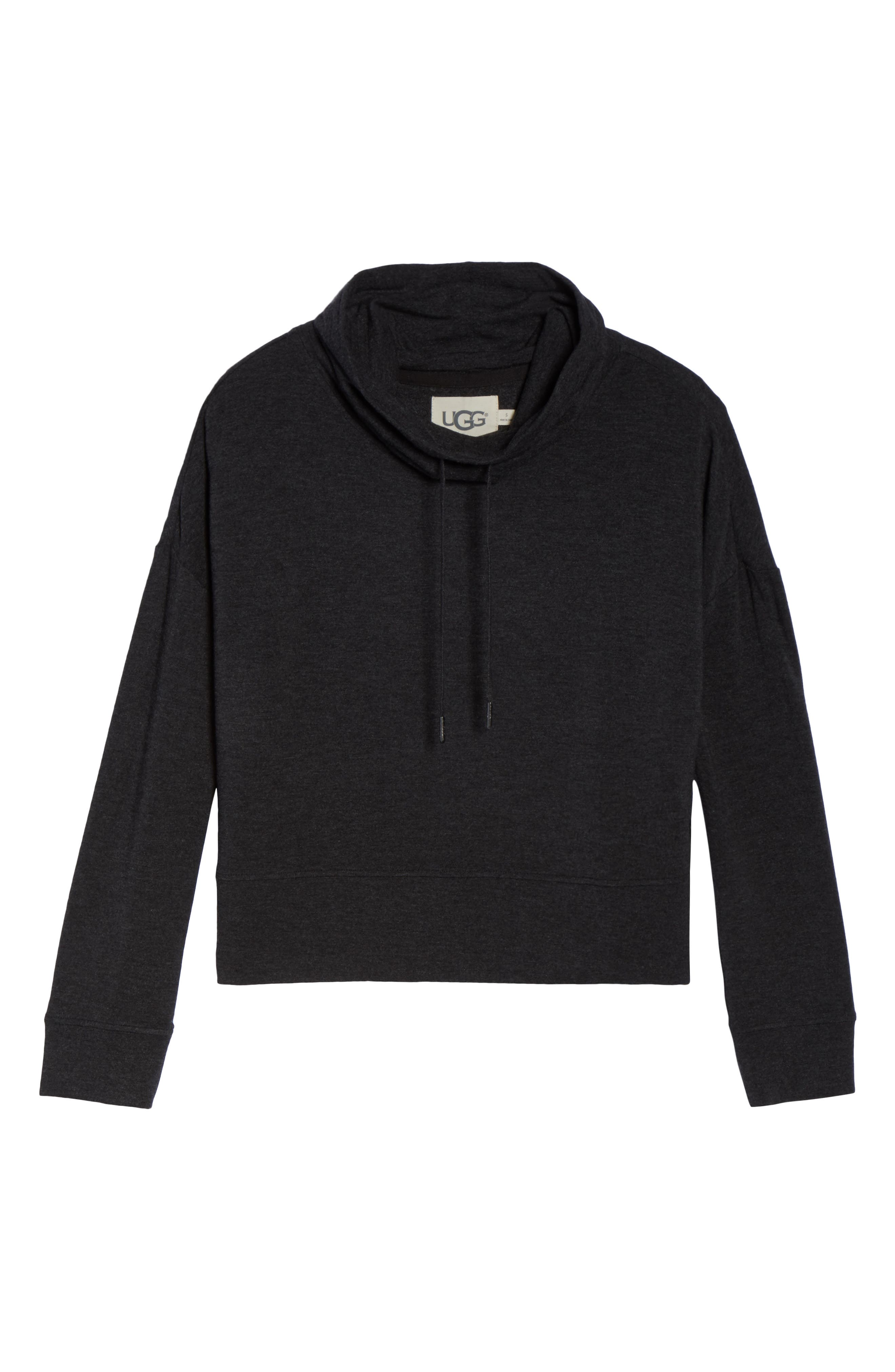 Funnel Neck Crop Sweatshirt,                             Alternate thumbnail 4, color,                             Black Heather