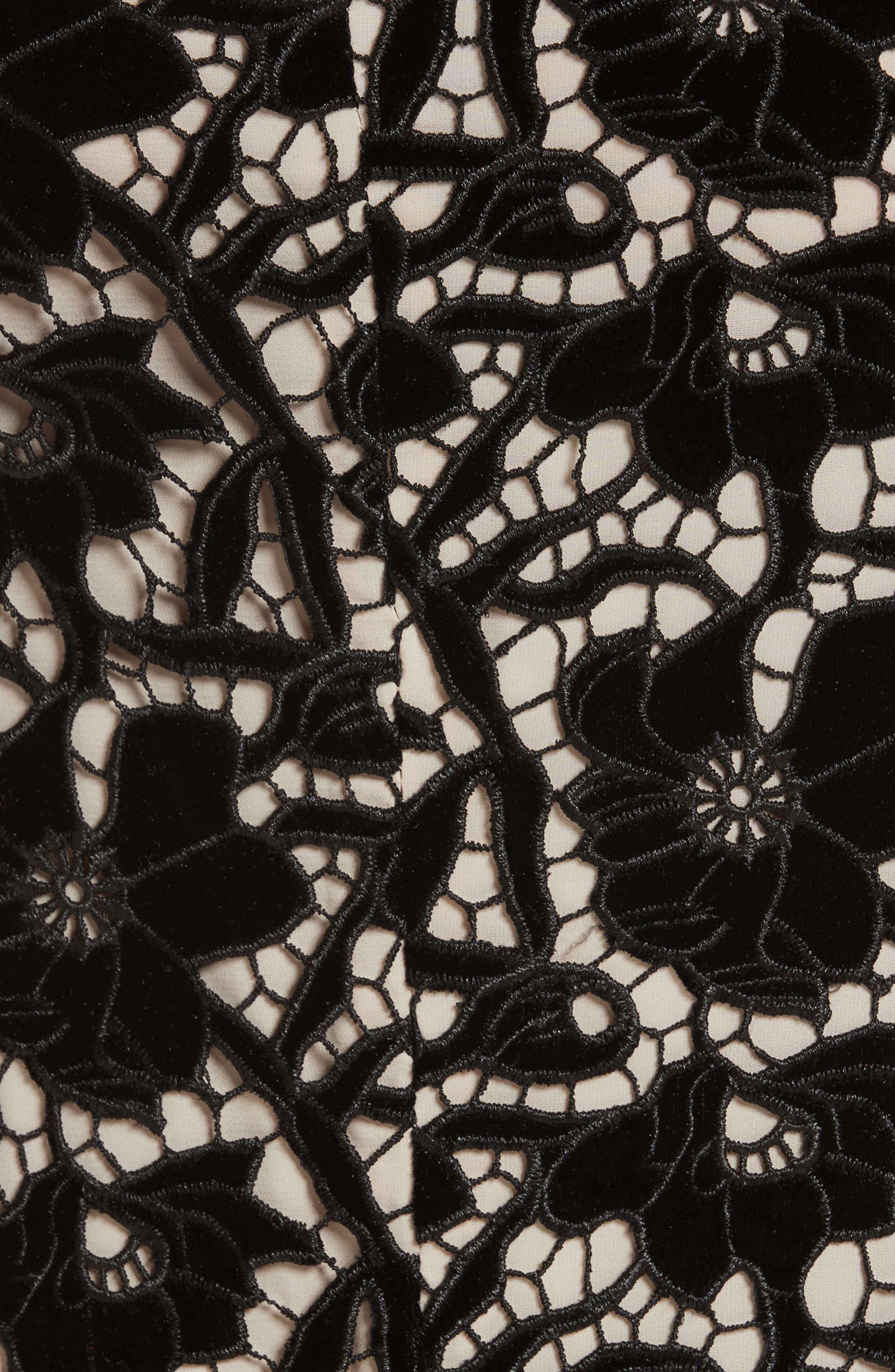 Jae Peplum Open Back Dress,                             Alternate thumbnail 5, color,                             Black/ Sesame