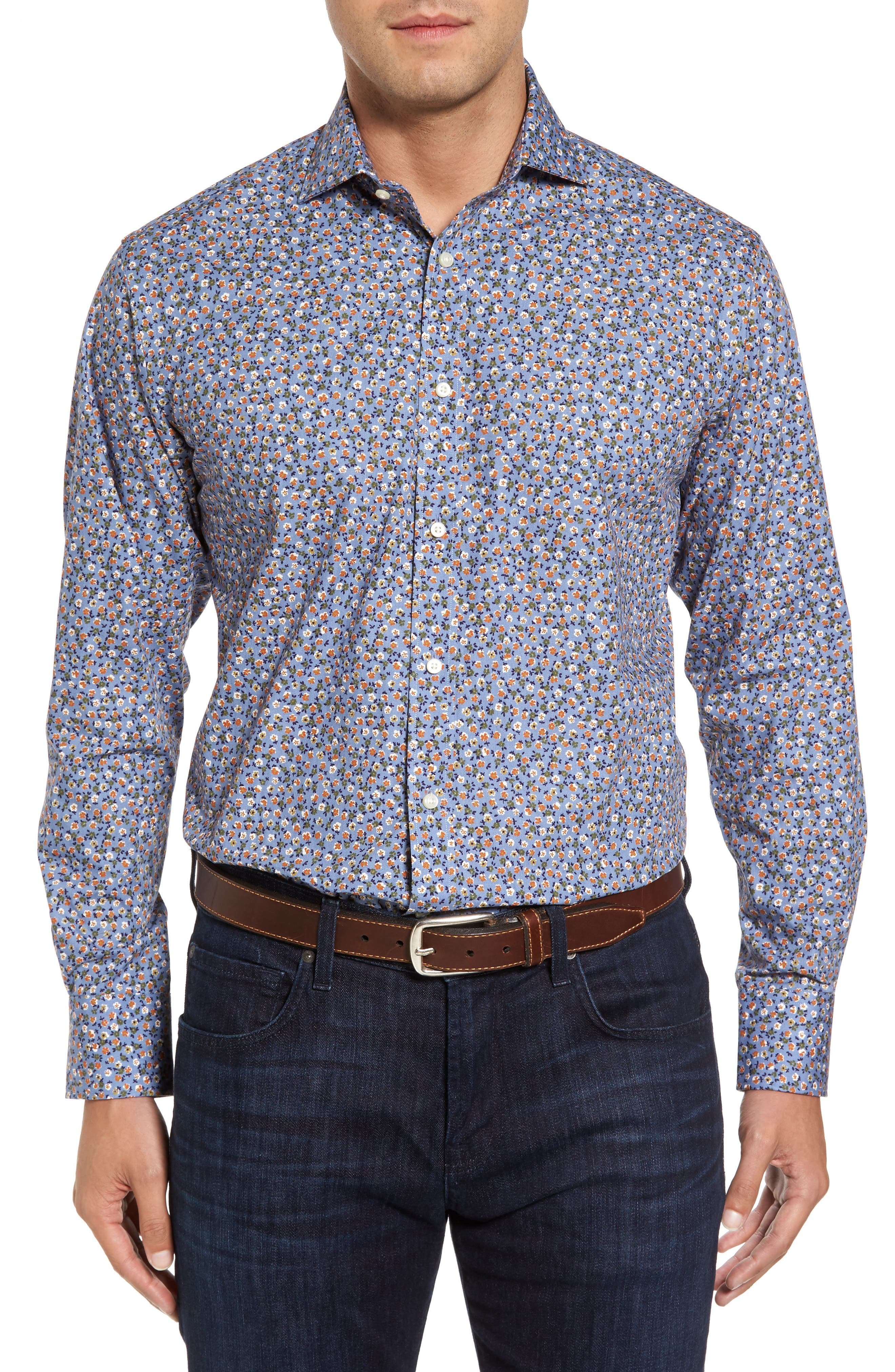 Regular Fit Floral Print Sport Shirt,                         Main,                         color, Blue