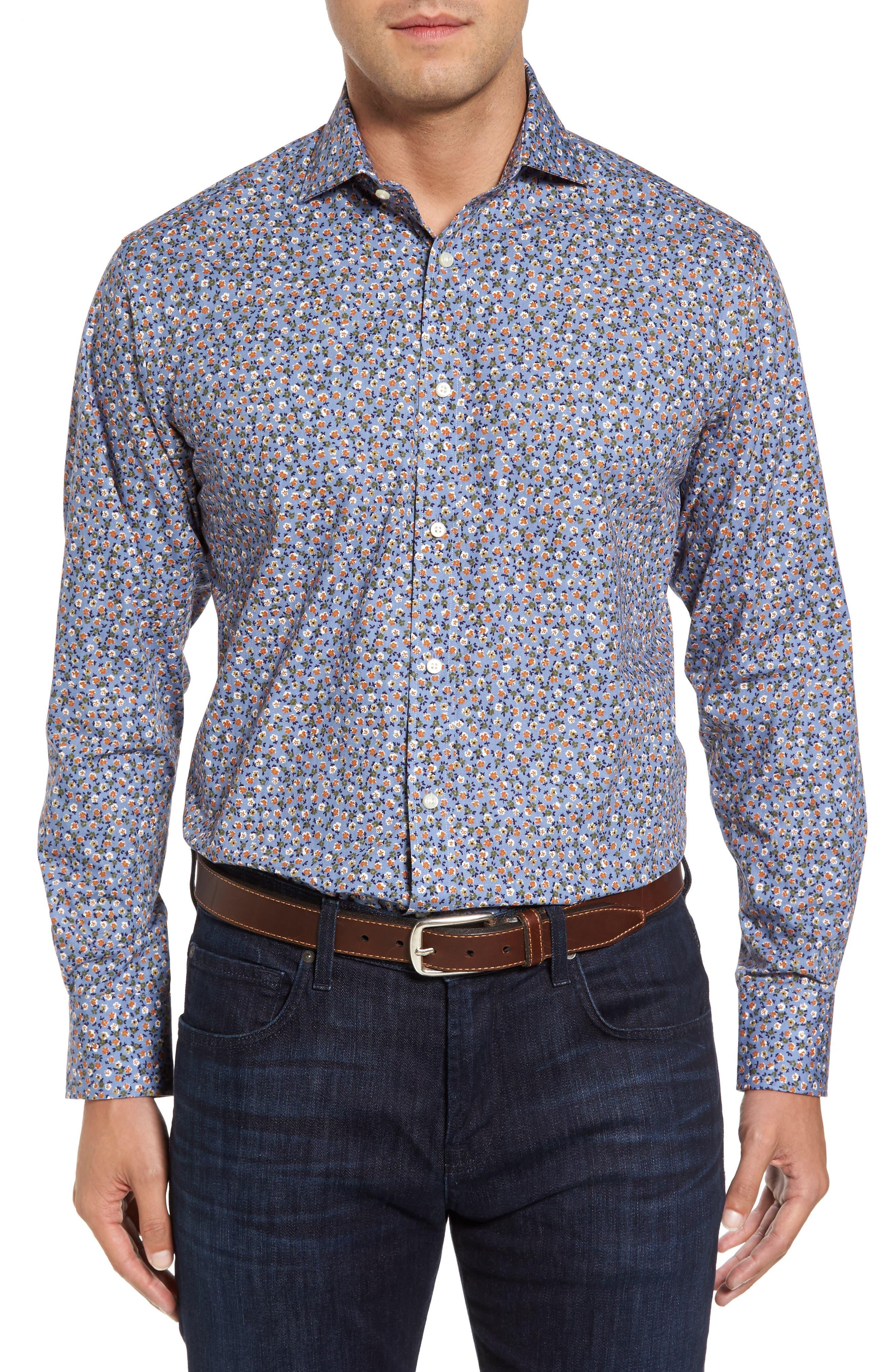 Thomas Dean Regular Fit Floral Print Sport Shirt