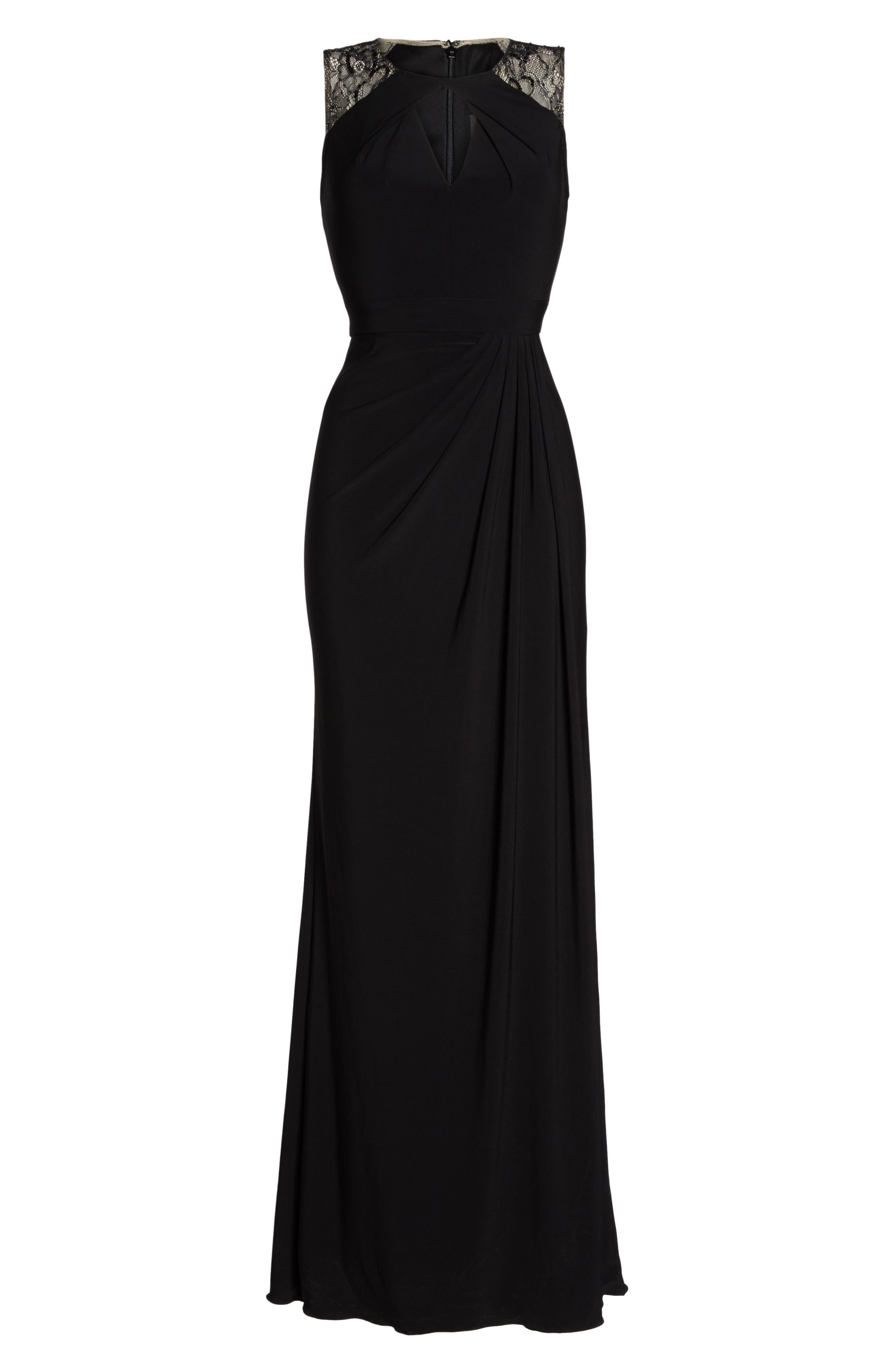 Lace Shoulder Jersey Gown,                             Alternate thumbnail 6, color,                             Black