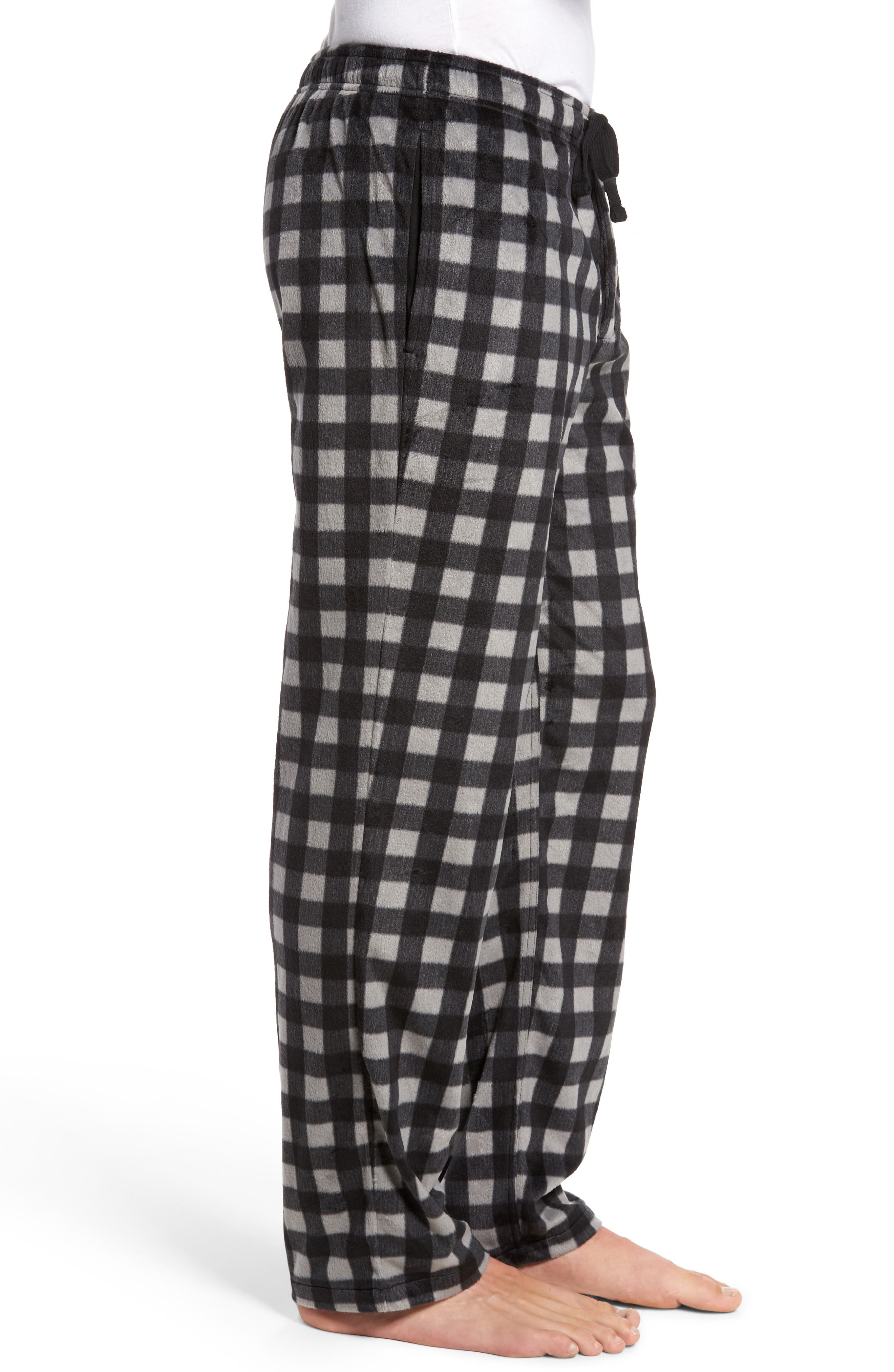 Fleece Lounge Pants,                             Alternate thumbnail 3, color,                             Grey December- Black Buffalo