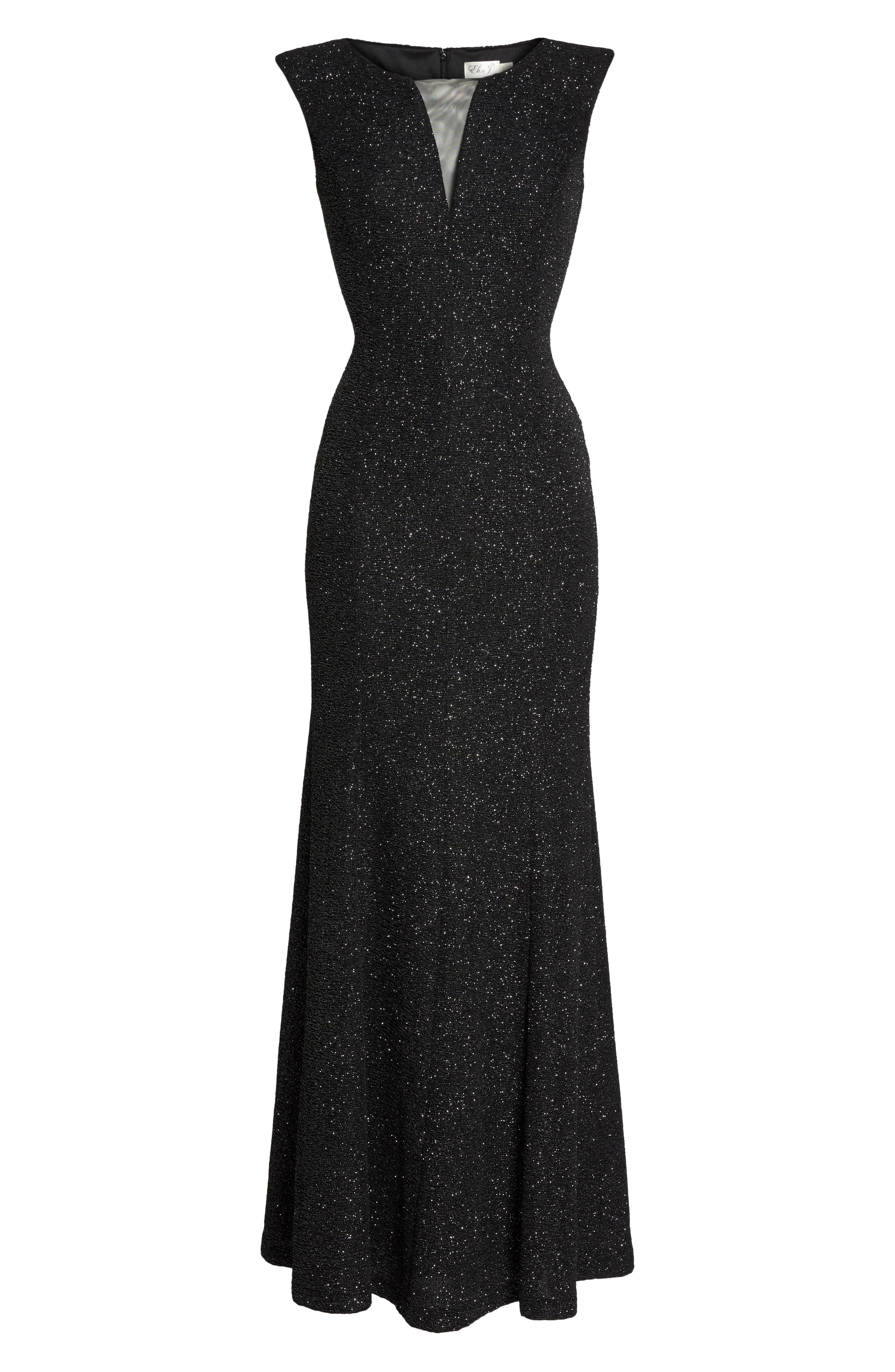 Glitter Knit Gown,                             Alternate thumbnail 6, color,                             Black/ Silver