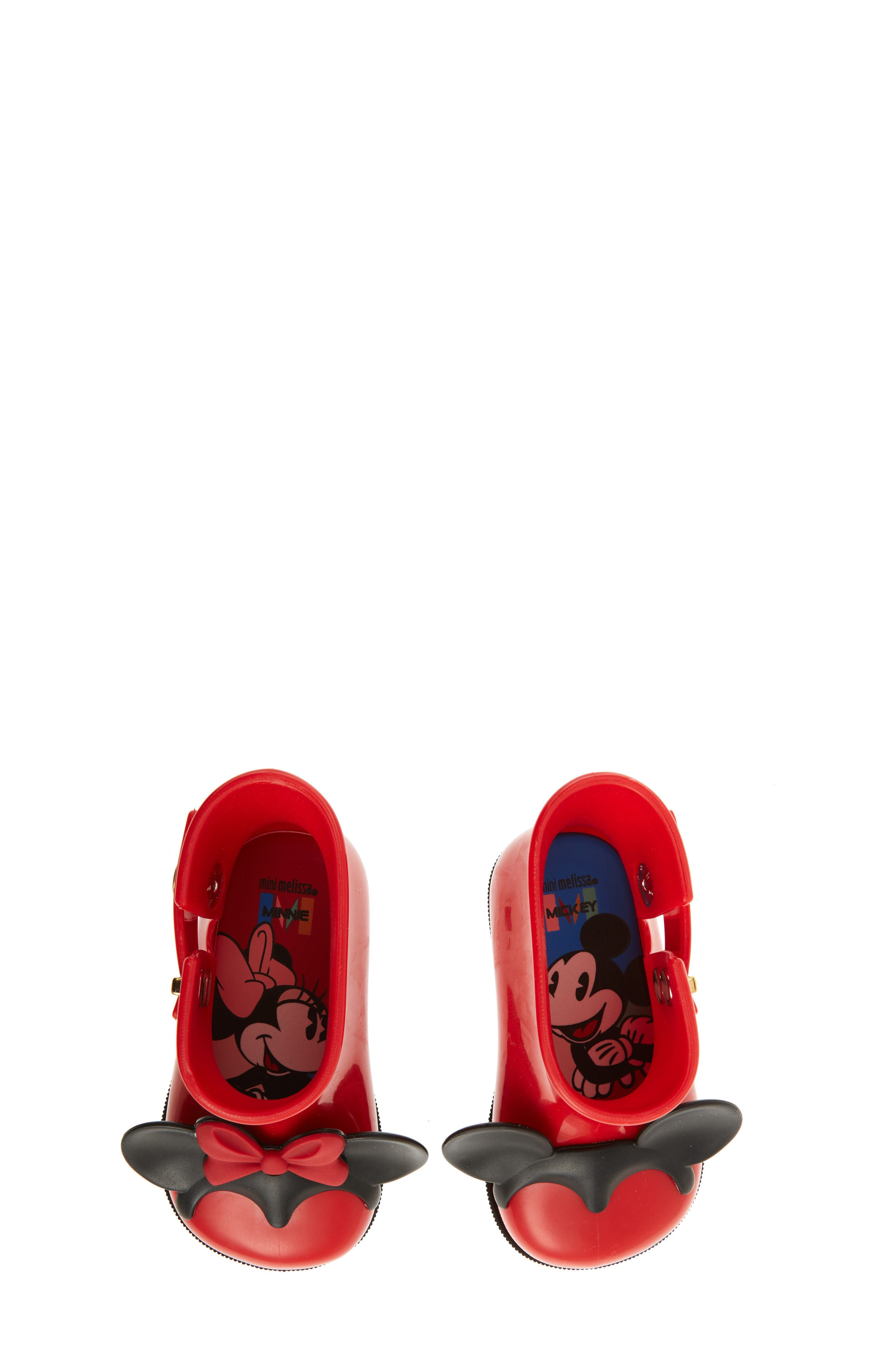 Mini Melissa Sugar Rain Disney Twins Waterproof Bootie,                             Alternate thumbnail 5, color,                             Red