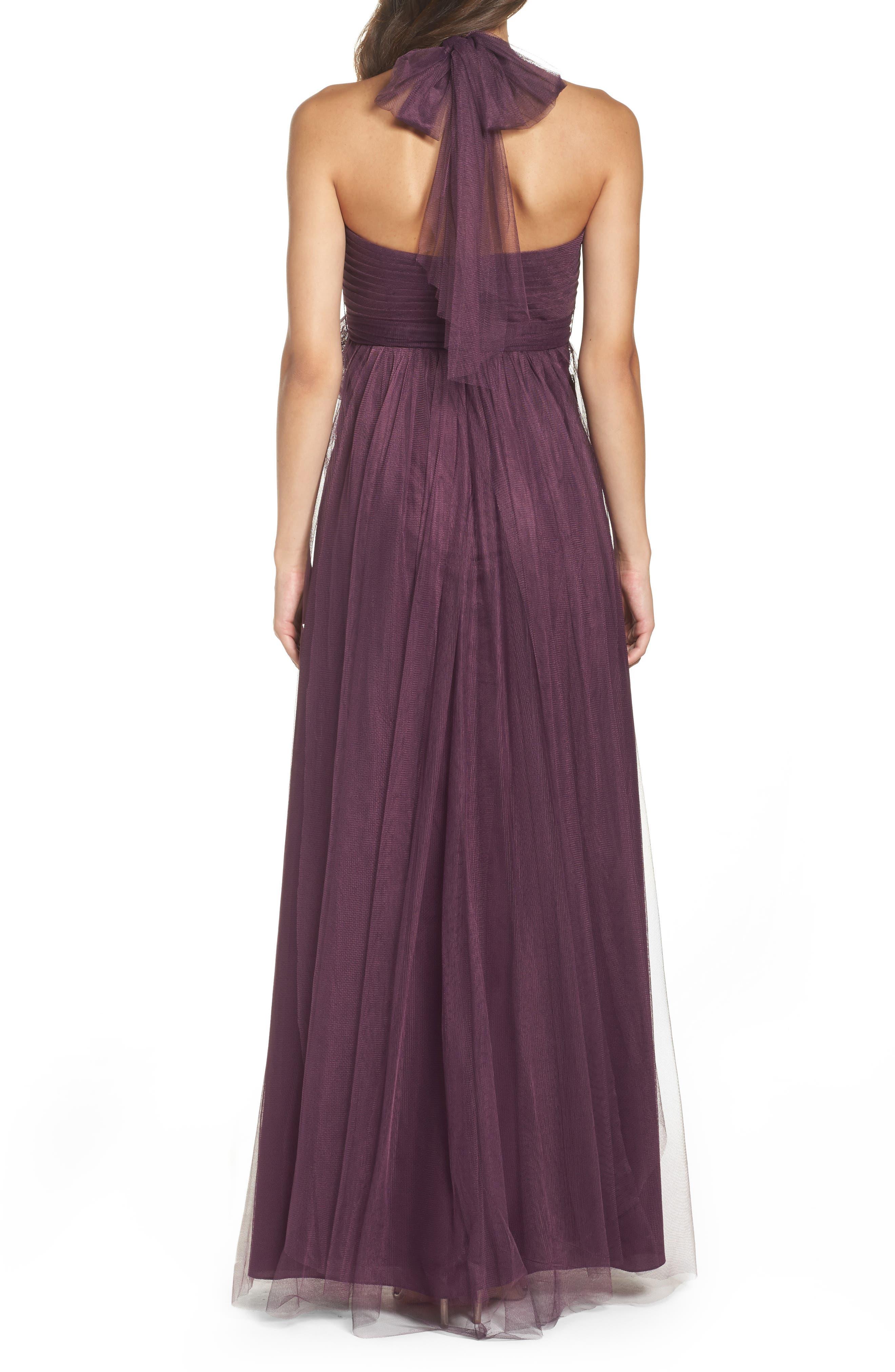 Annabelle Convertible Tulle Column Dress,                             Alternate thumbnail 2, color,                             Raisin