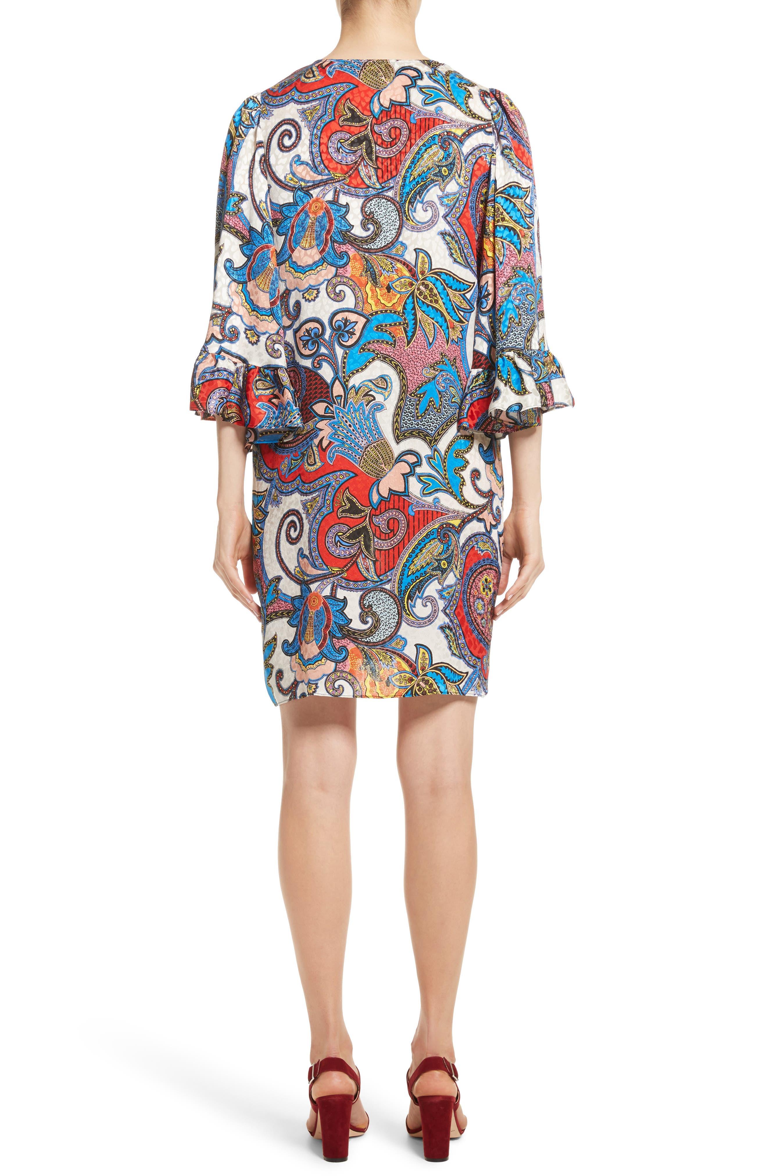 Paisley Print Silk Flutter Sleeve Dress,                             Alternate thumbnail 2, color,                             Multi
