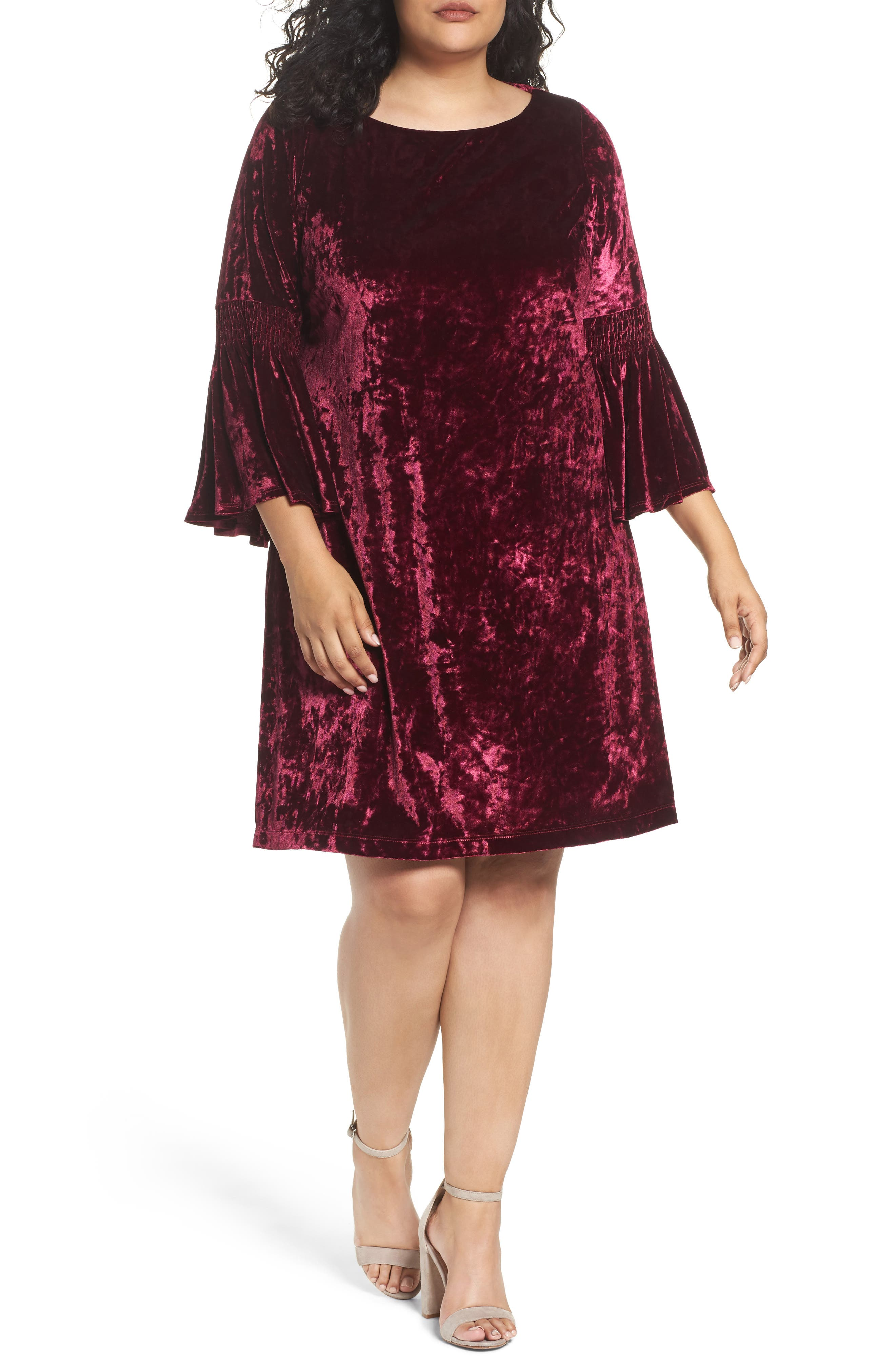 Gabby Skye Bell Sleeve Velvet Shift Dress (Plus Size)